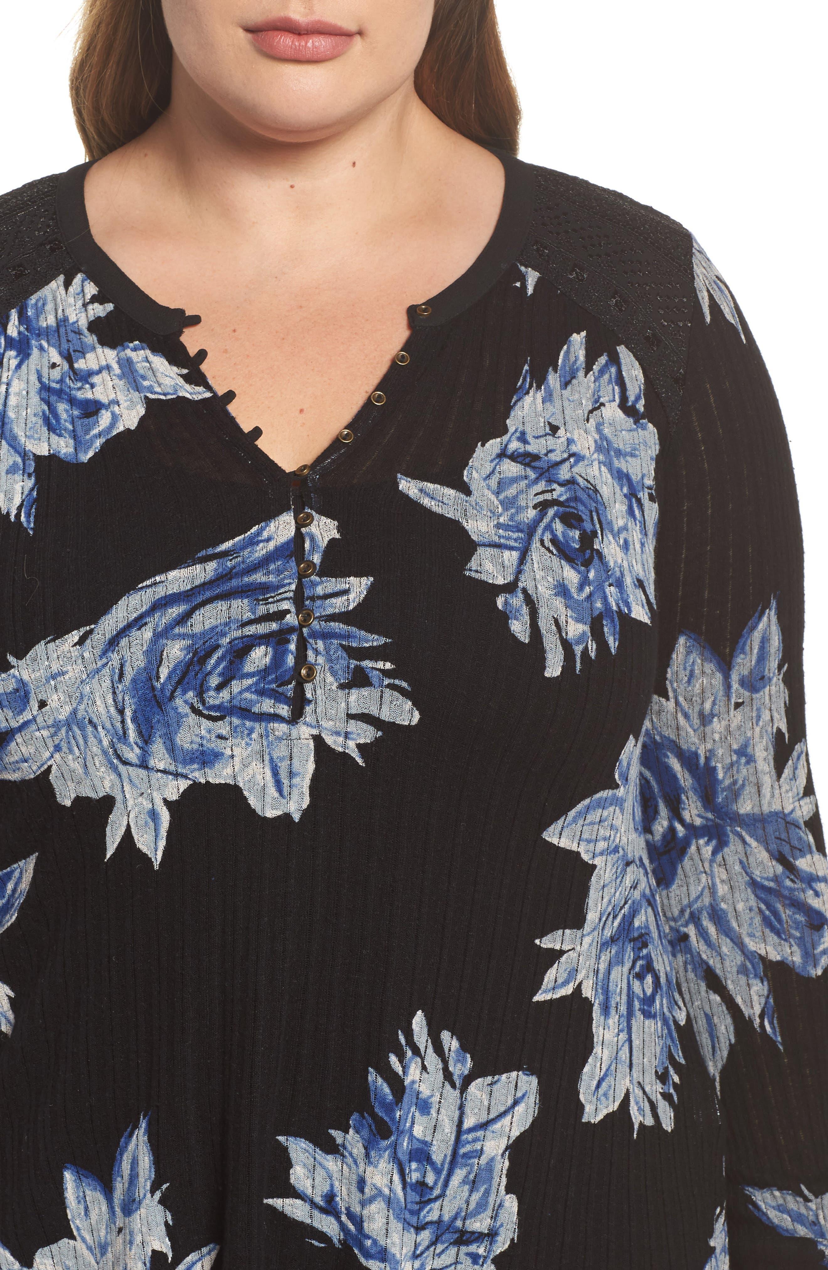 Floral Print Drop Needle Knit Shirt,                             Alternate thumbnail 4, color,