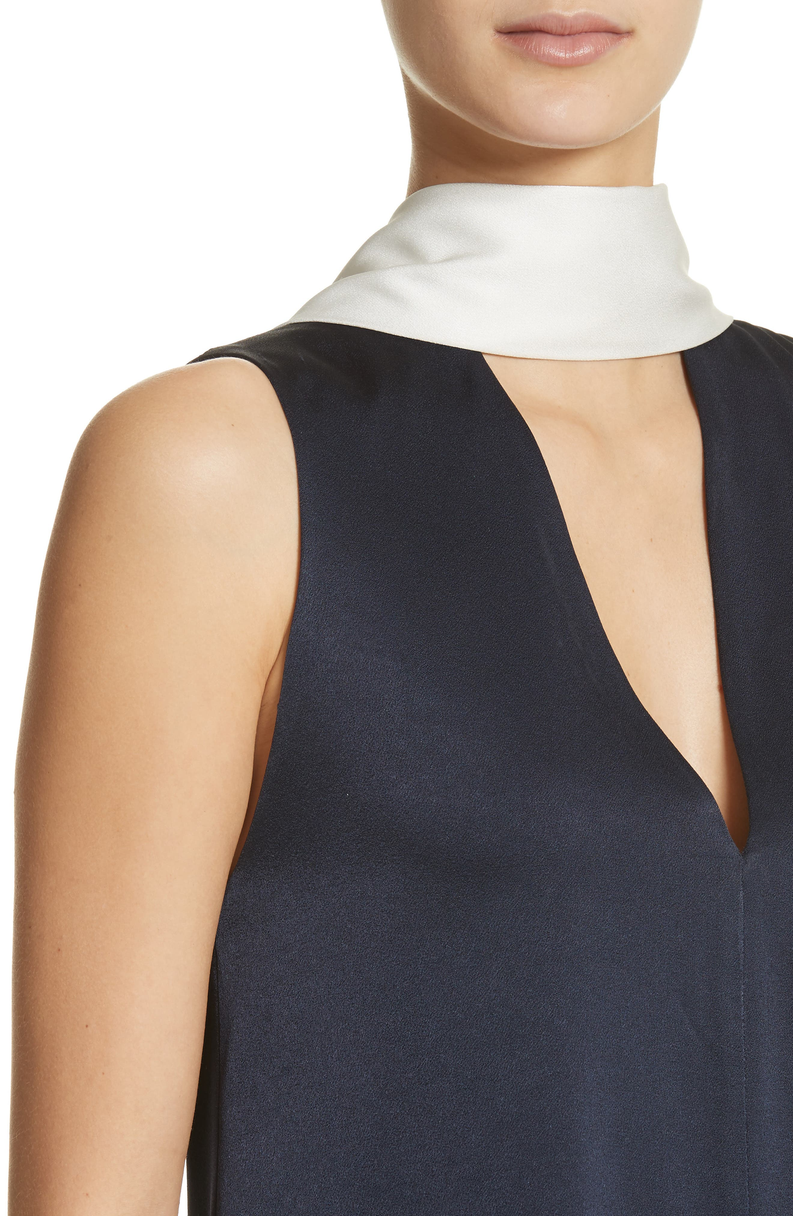 Scarf Detail Satin Back Crepe Top,                             Alternate thumbnail 4, color,                             MIDNIGHT W/ WHITE
