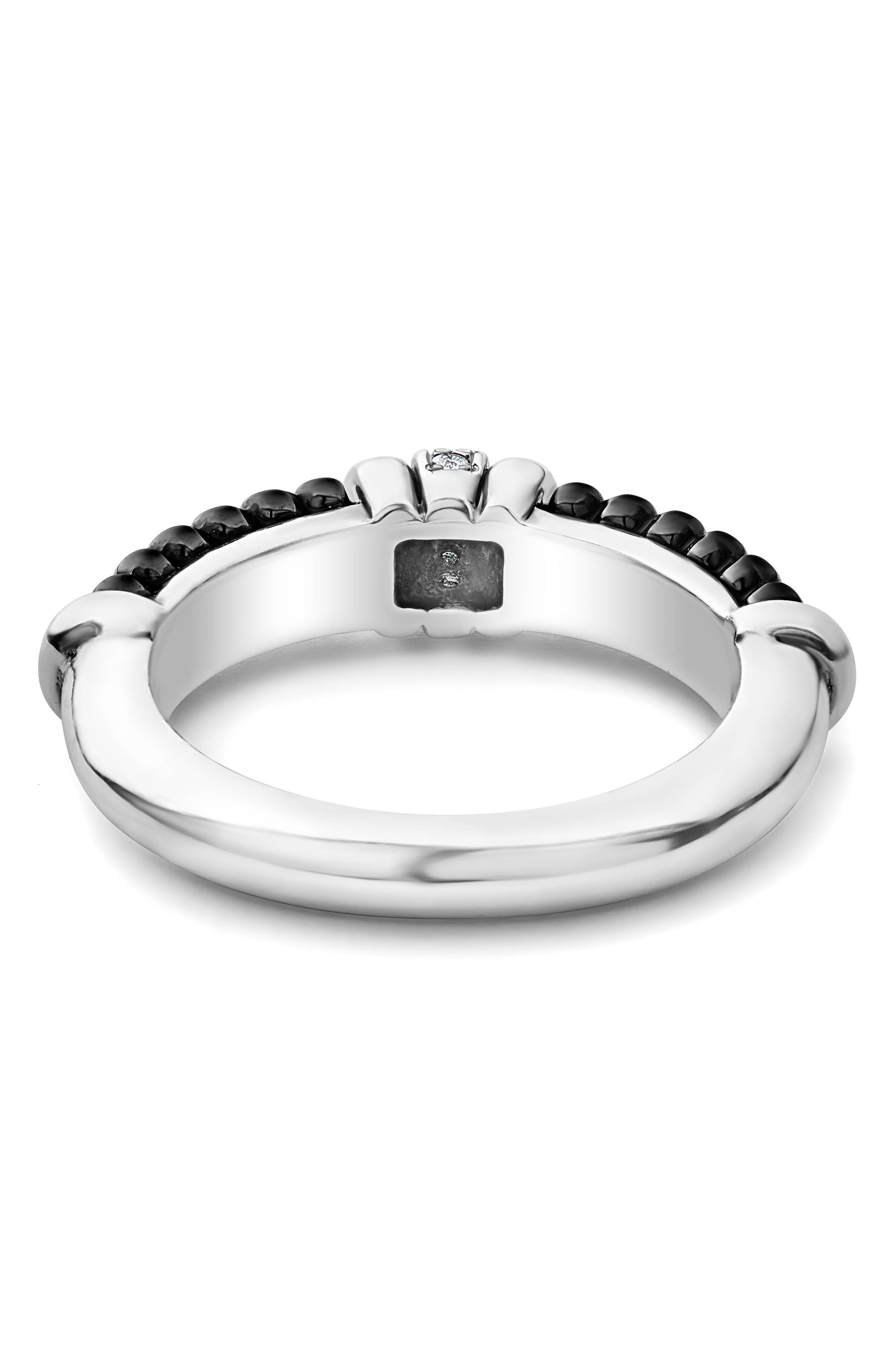 Black Caviar Diamond Stack Ring,                             Alternate thumbnail 4, color,                             SILVER/ BLACK