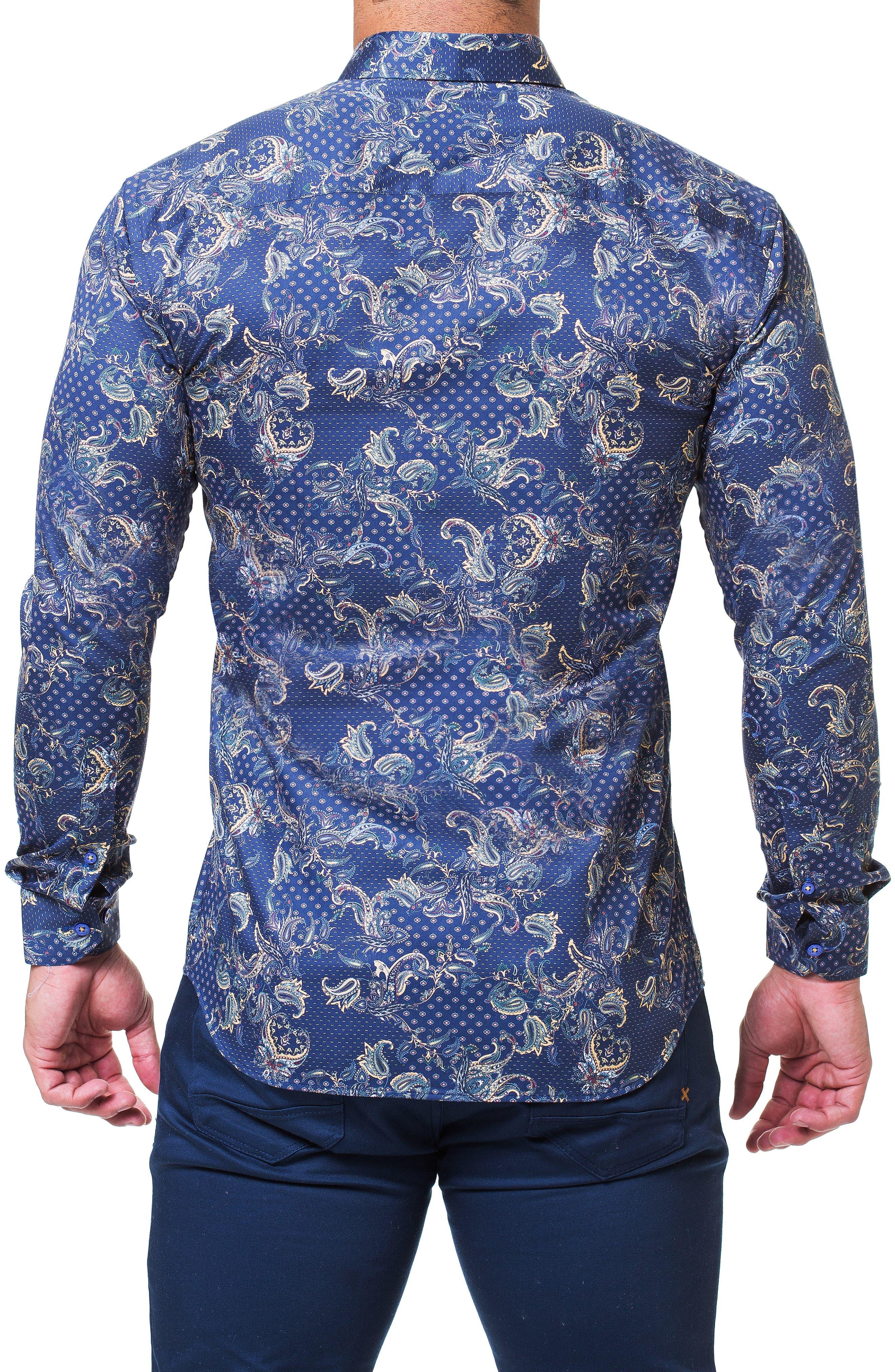 Fibonacci Victorian Paisley Print Trim Fit Sport Shirt,                             Alternate thumbnail 2, color,                             BLUE