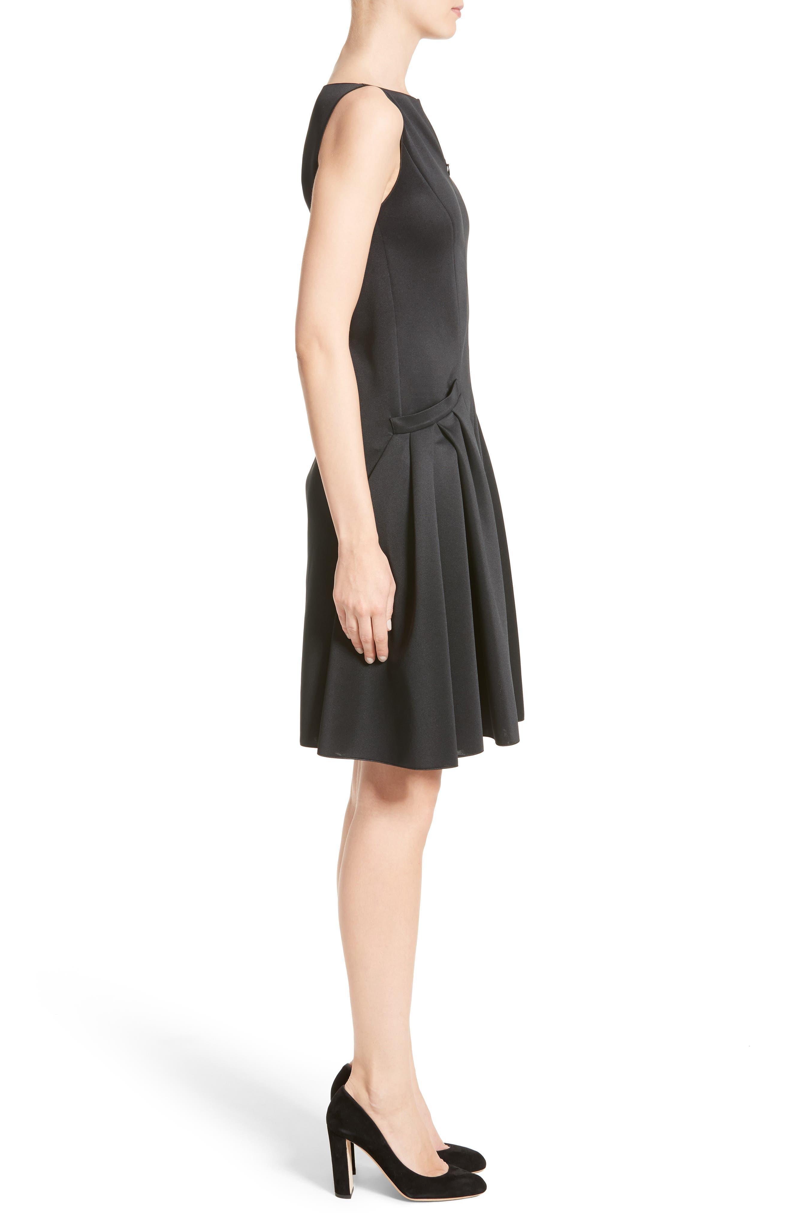 Neoprene Fit & Flare Dress,                             Alternate thumbnail 3, color,                             001