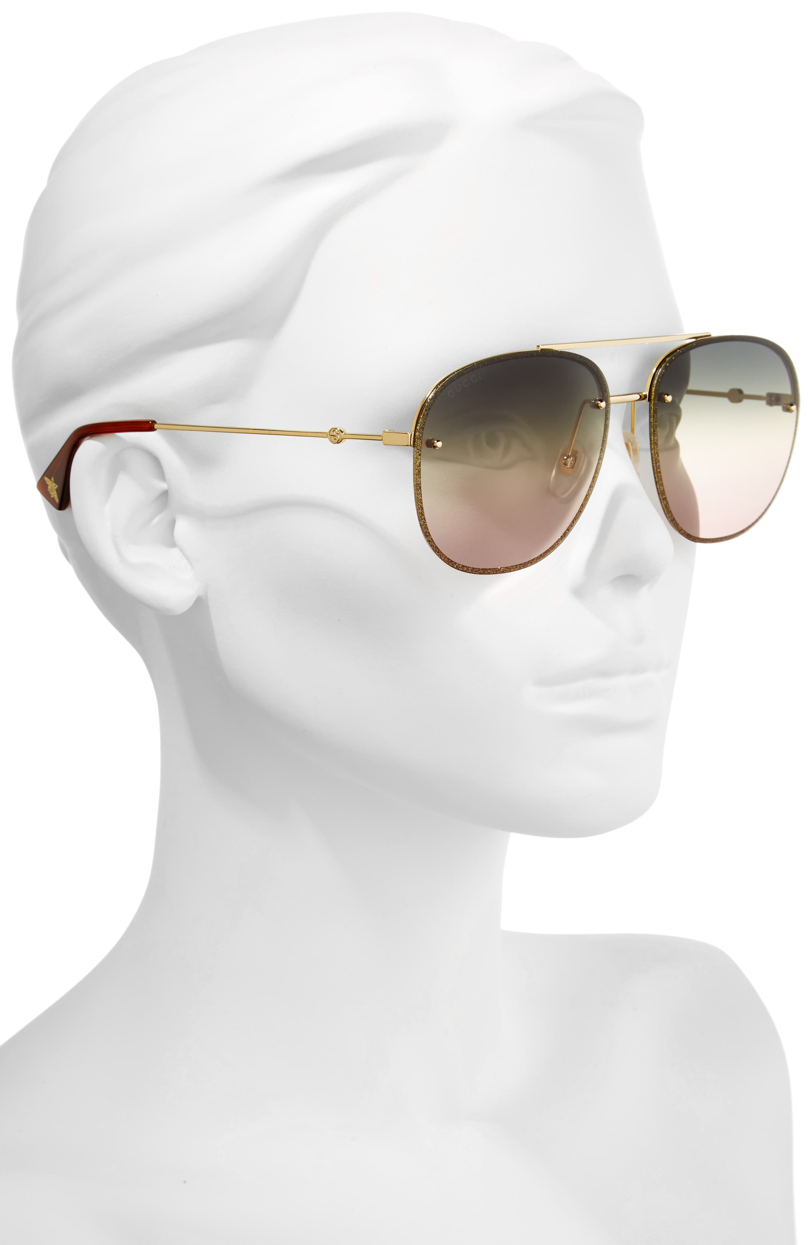 62mm Oversize Aviator Sunglasses,                             Alternate thumbnail 2, color,                             GOLD/ GREEN/ YELLOW/ NUDE