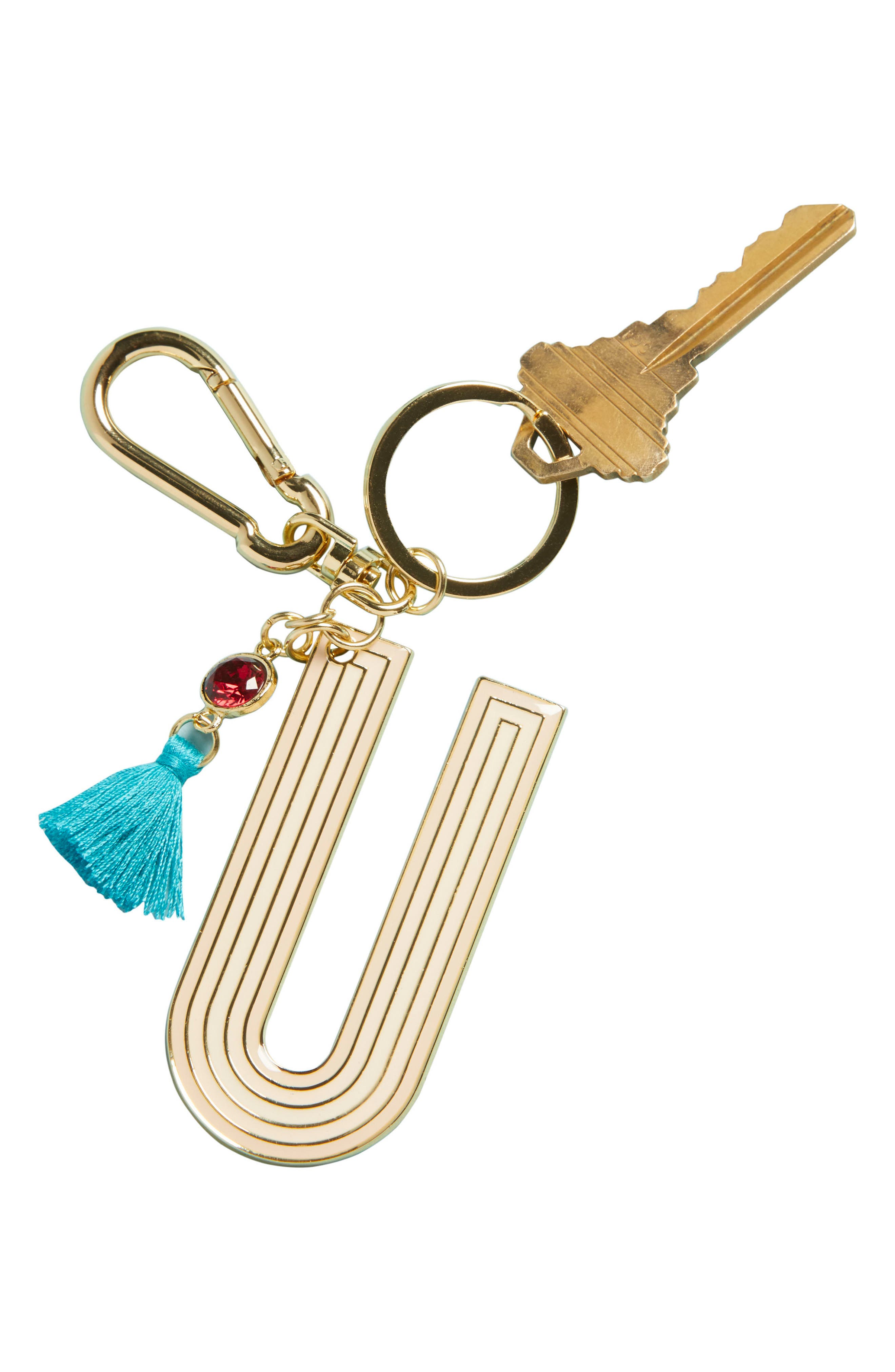 ANTHROPOLOGIE,                             Juniper Monogram Key Chain,                             Alternate thumbnail 3, color,                             U