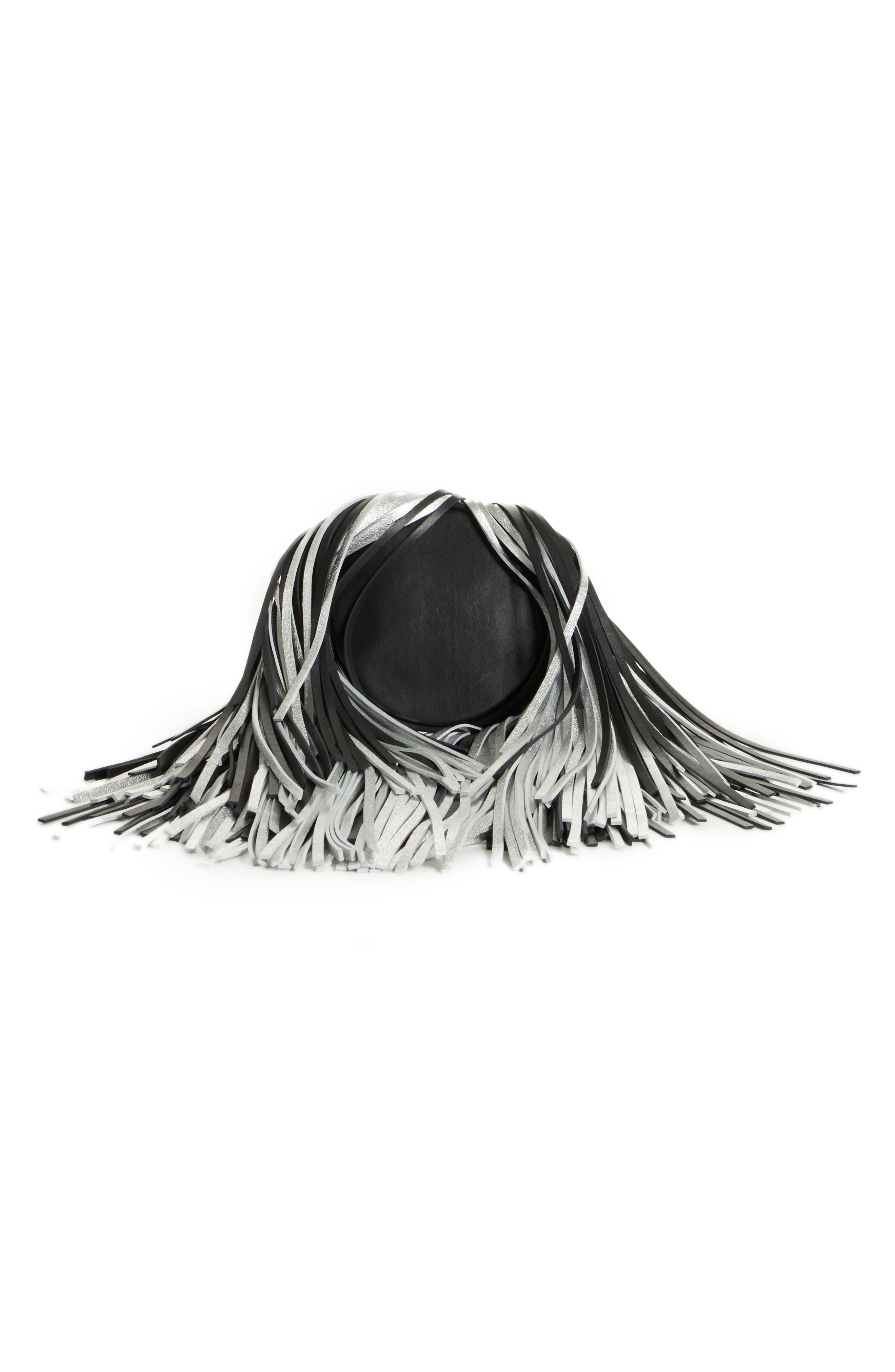 Layered Fringe Leather Bucket Bag,                             Alternate thumbnail 7, color,