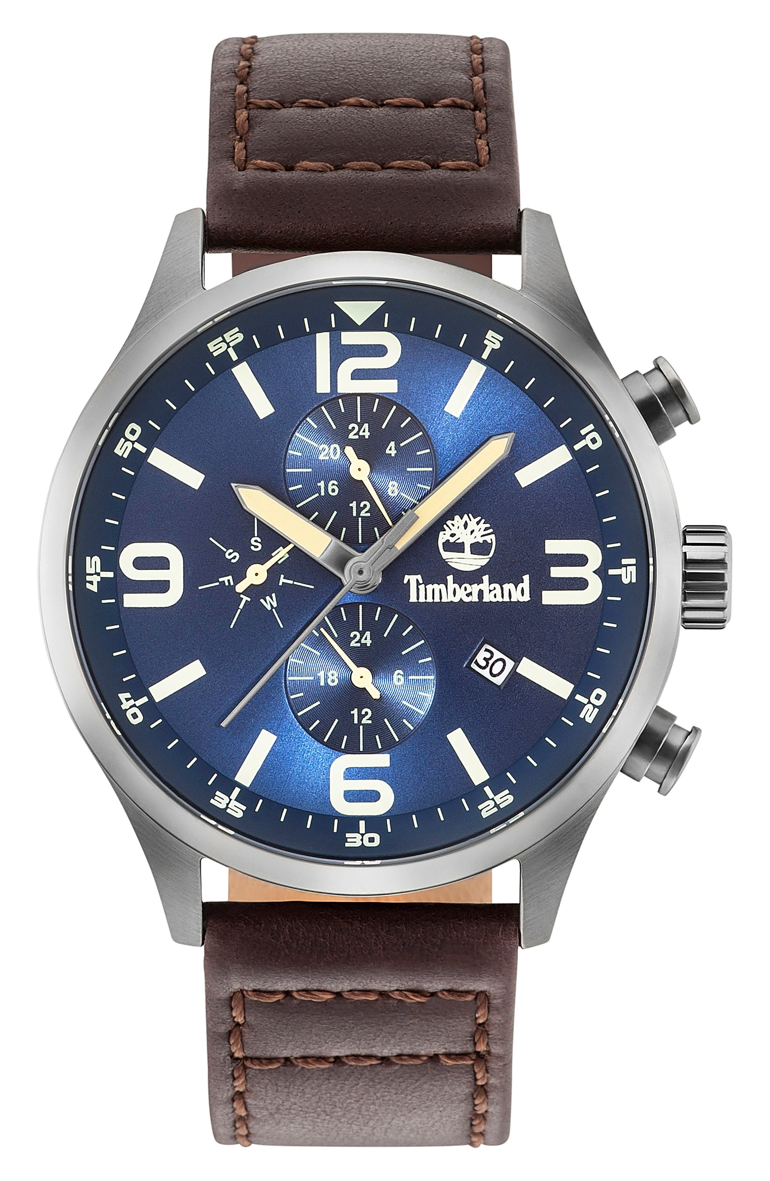 Rutherford Multifunction Leather Strap Watch, 45mm, Main, color, 200