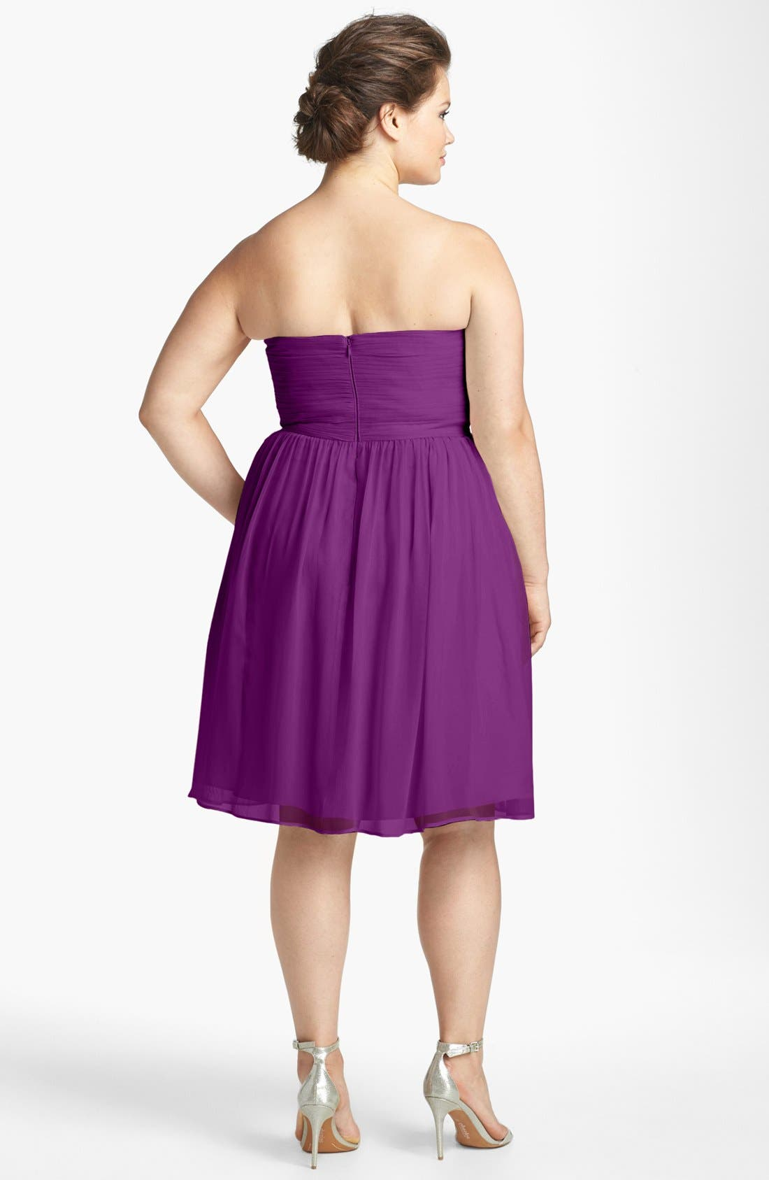 'Morgan' Strapless Silk Chiffon Dress,                             Alternate thumbnail 90, color,