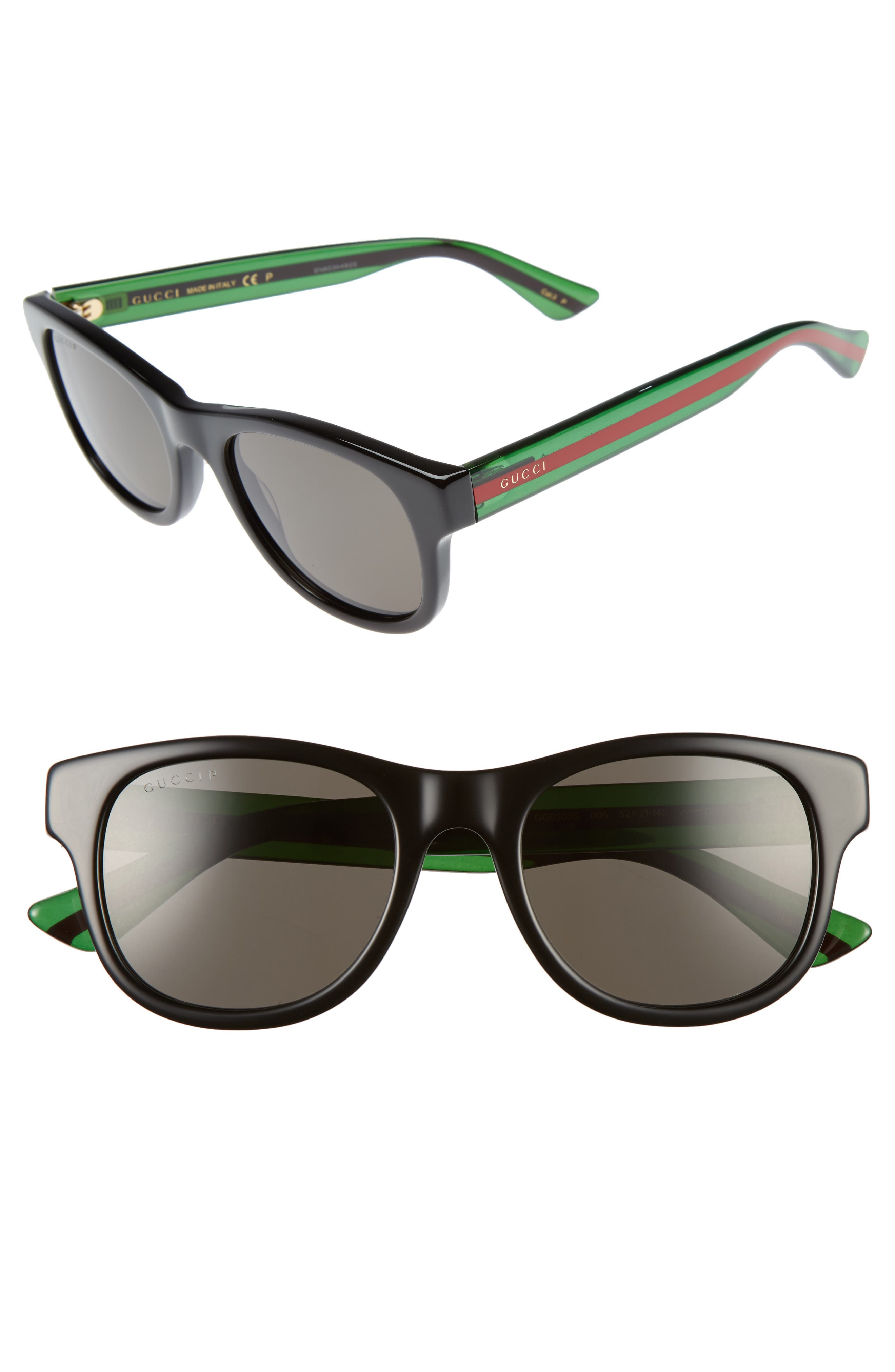 Pop Web 52mm Sunglasses,                         Main,                         color, BLACK POLAR GREY LENS