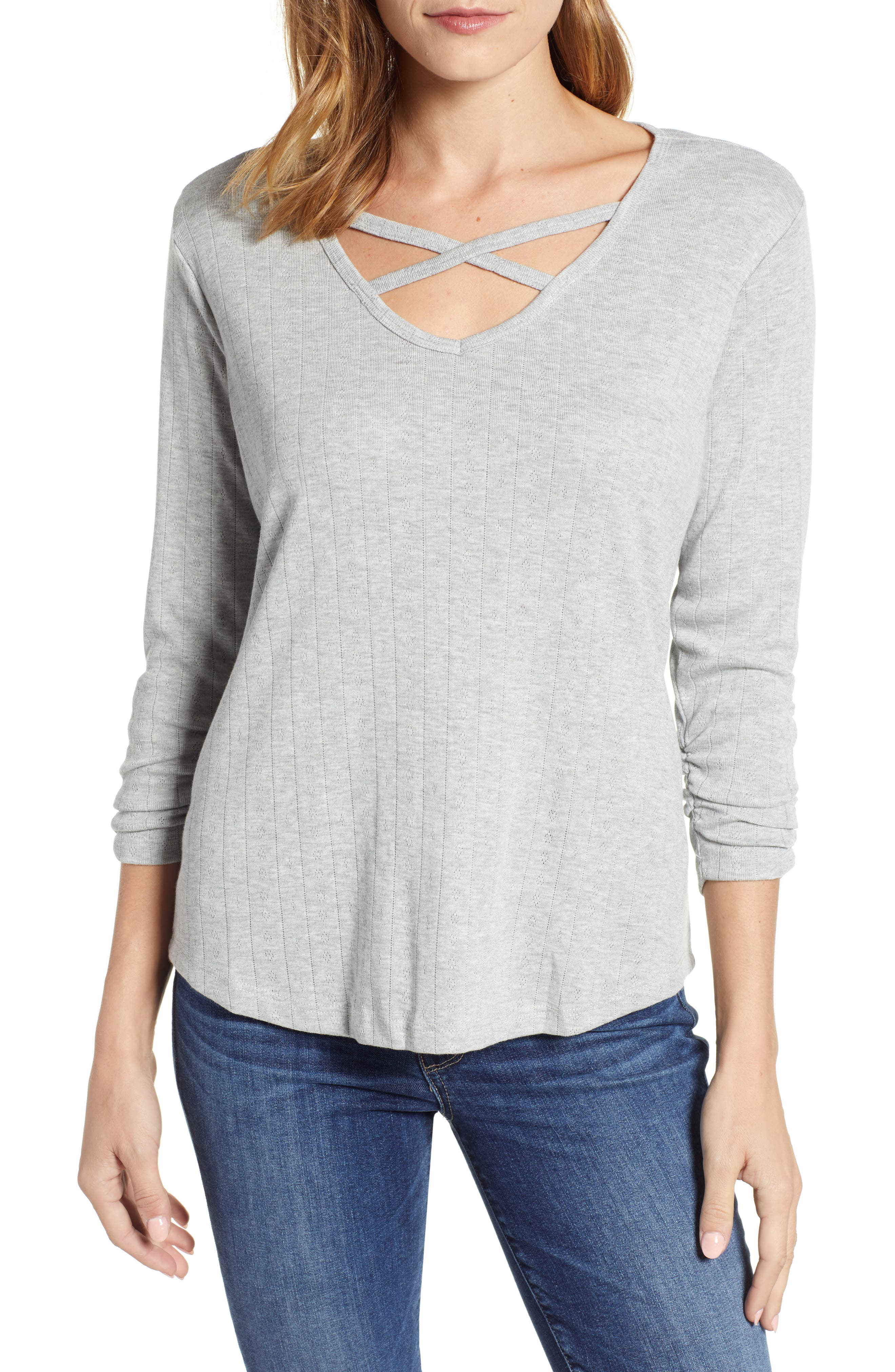 Pointelle Knit Top,                         Main,                         color, LIGHT GREY