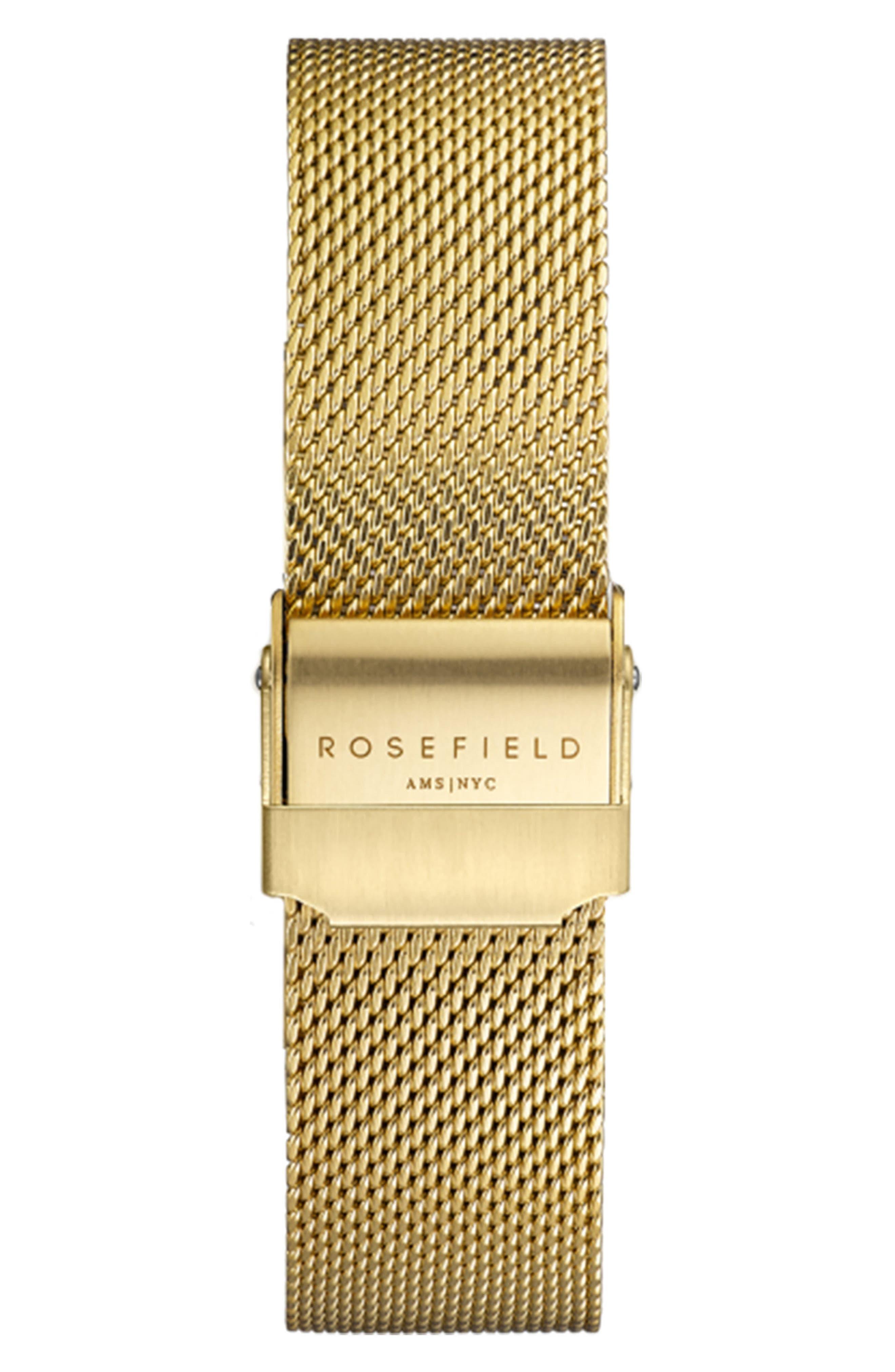 Mercer Mesh Strap Watch, 38mm,                             Alternate thumbnail 2, color,                             GOLD/ BLACK/ GOLD