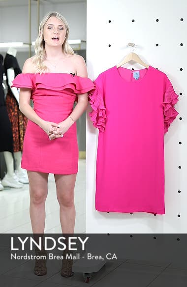 Tiered Pleated Crepe Shift Dress, sales video thumbnail