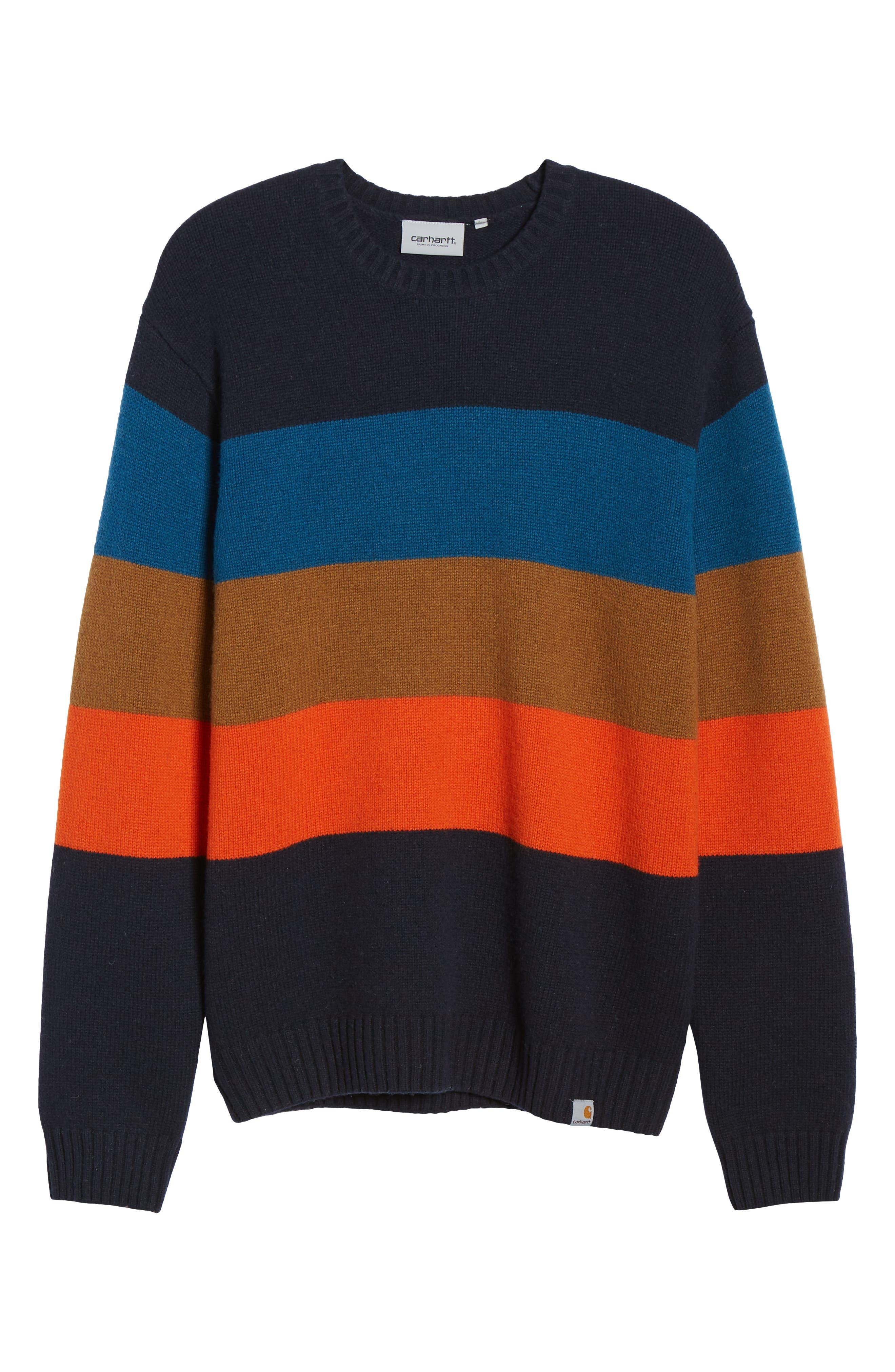 Goldner Stripe Wool Sweater,                             Alternate thumbnail 6, color,                             GOLD STRIPE DARK NAVY