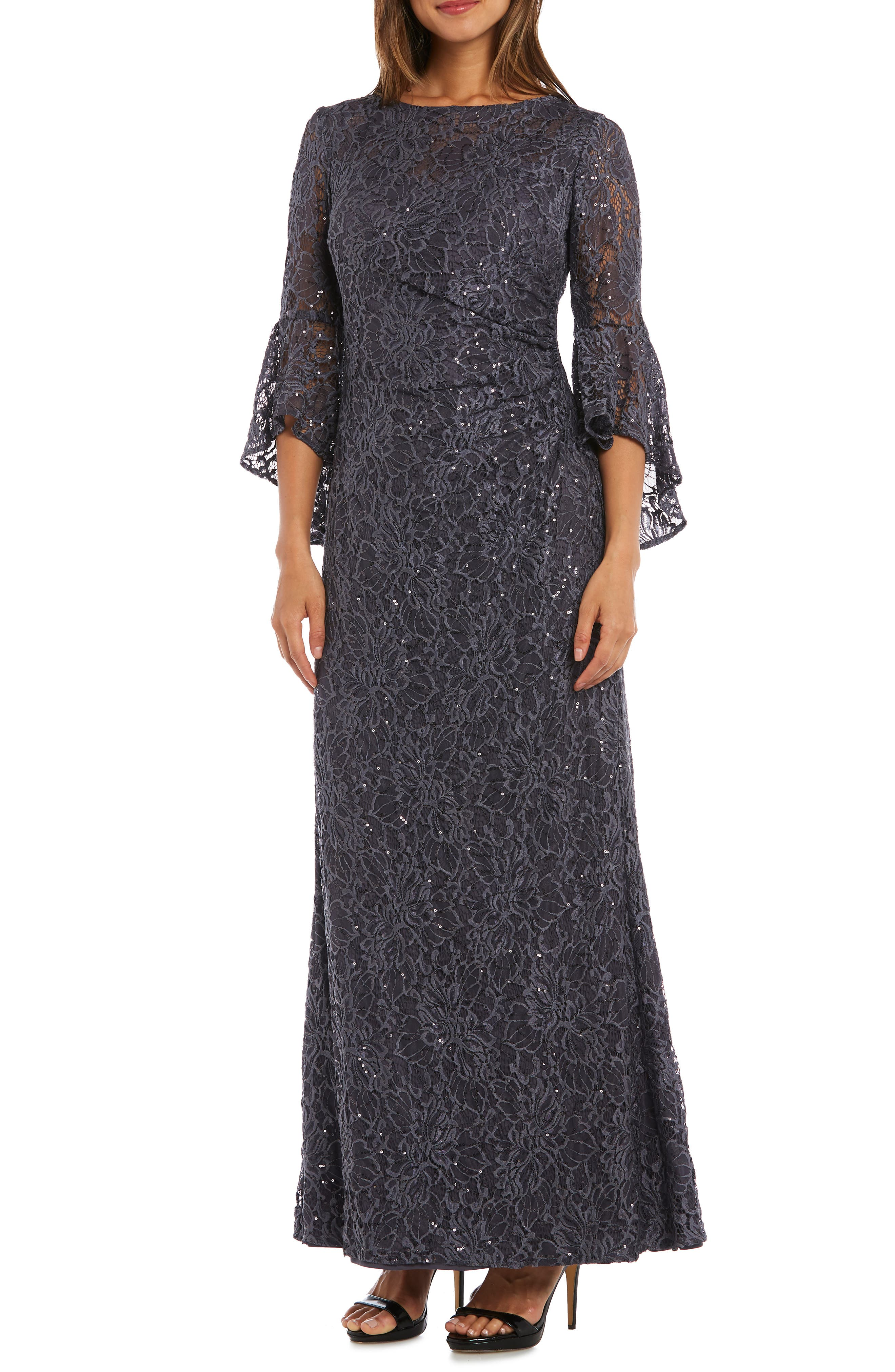 MORGAN & CO. Sequin Embellished Gown, Main, color, CHARCOAL
