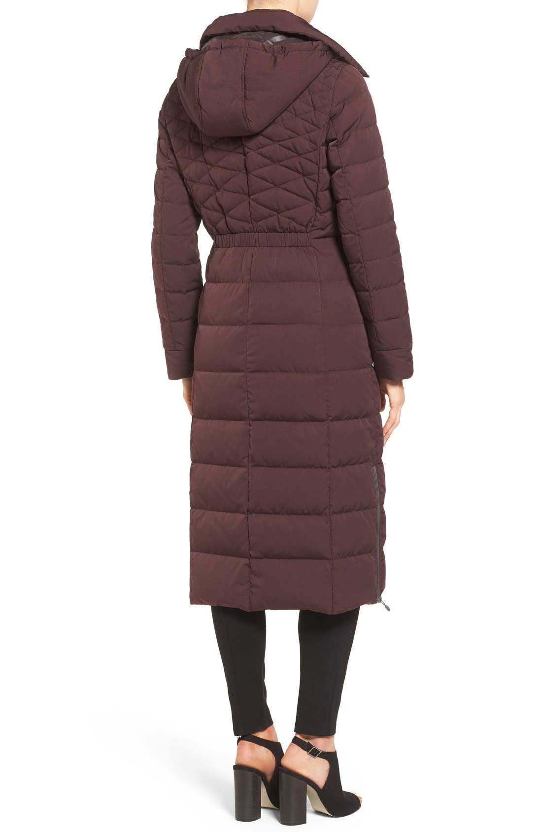 Quilted Long Coat with Down & PrimaLoft<sup>®</sup> Fill,                             Alternate thumbnail 3, color,                             DARK PLUM