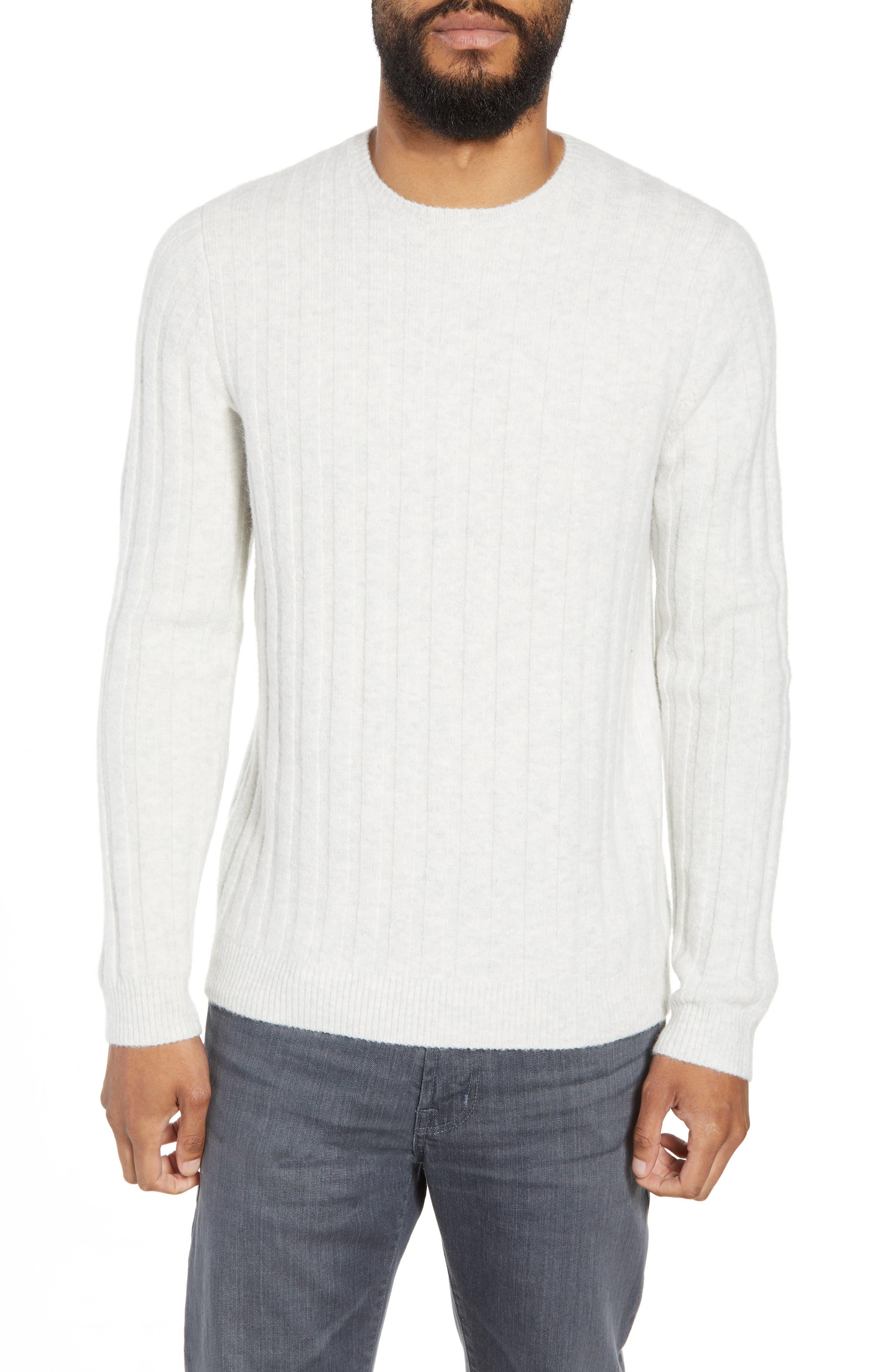 Rib Crewneck Sweater, Main, color, GREY SILK HEATHER