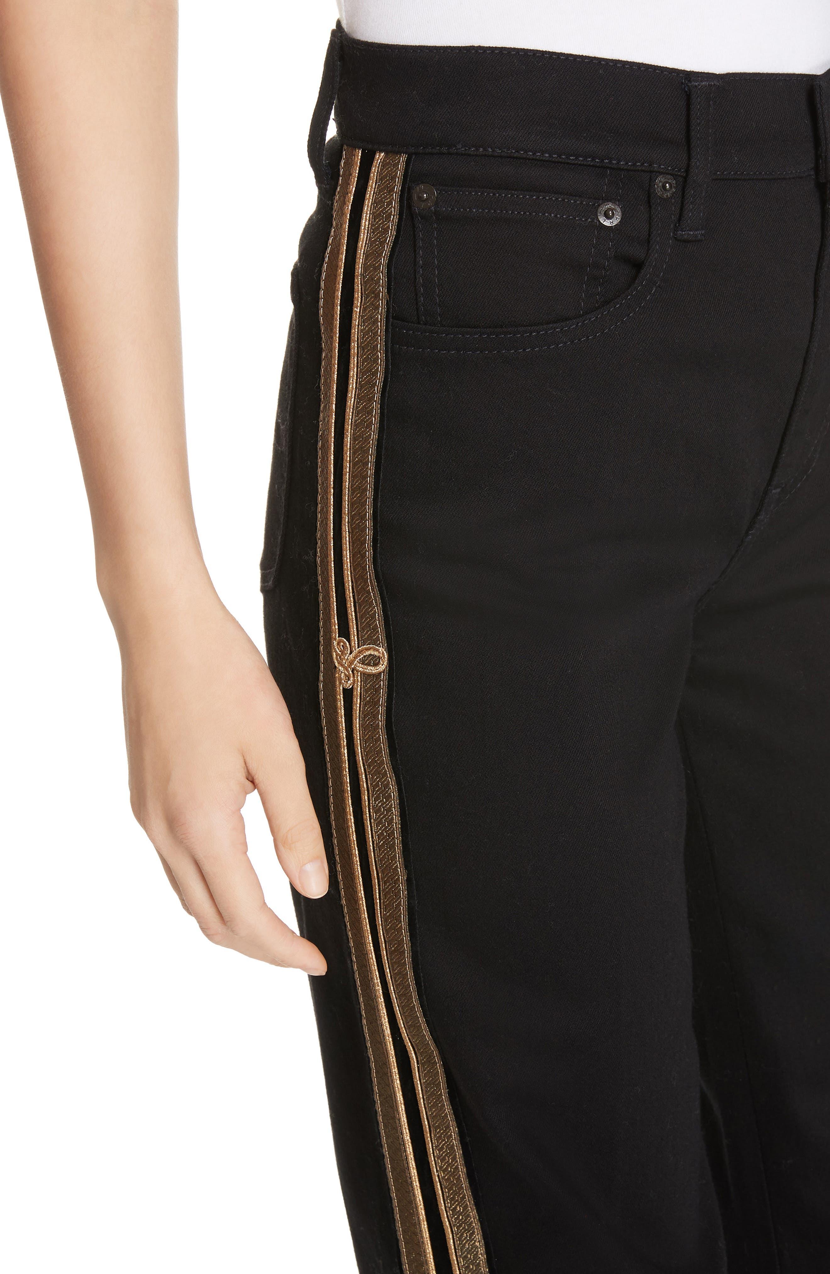 Wide Leg Denim Pants,                             Alternate thumbnail 4, color,                             BLACK