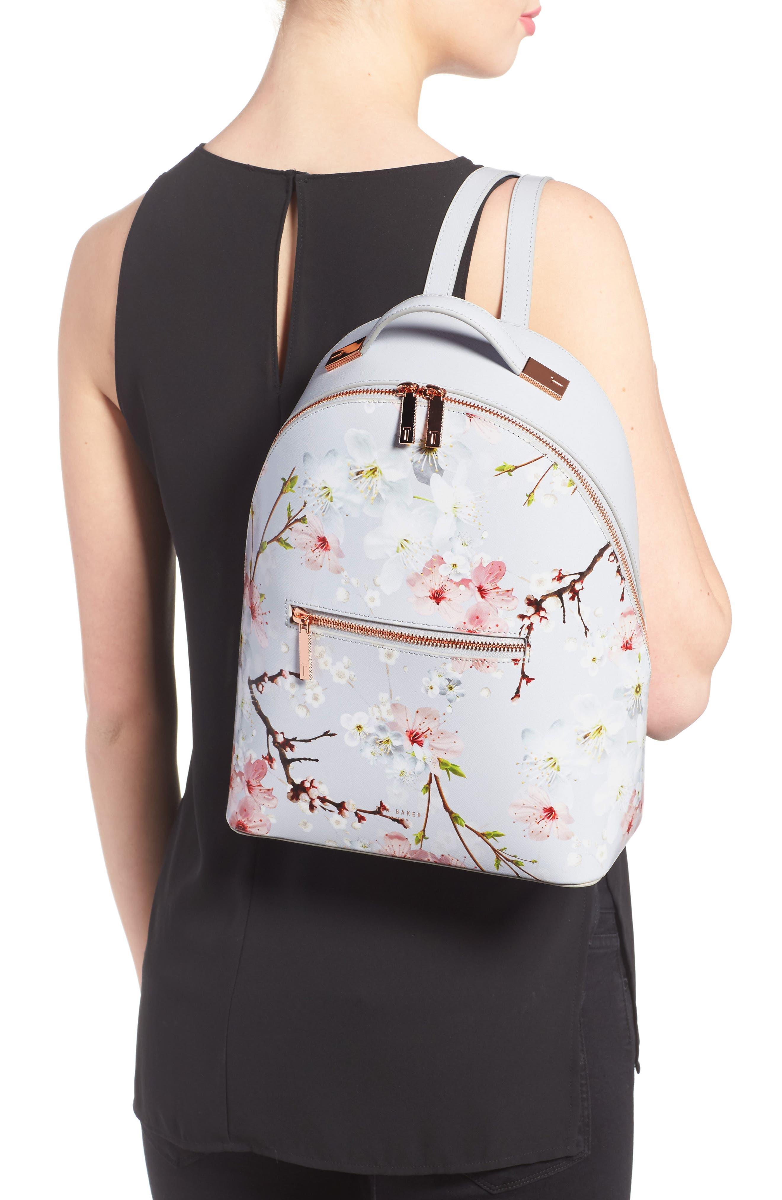Flower Print Leather Backpack,                             Alternate thumbnail 2, color,                             020