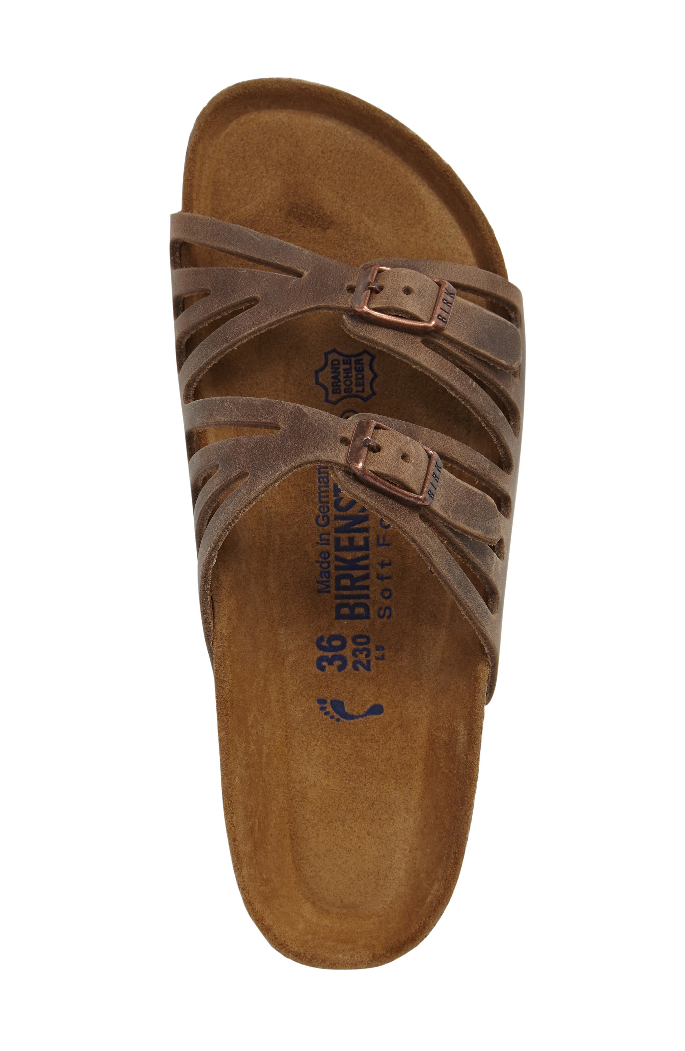 Granada Soft Footbed Oiled Leather Sandal,                             Alternate thumbnail 4, color,                             TOBACCO