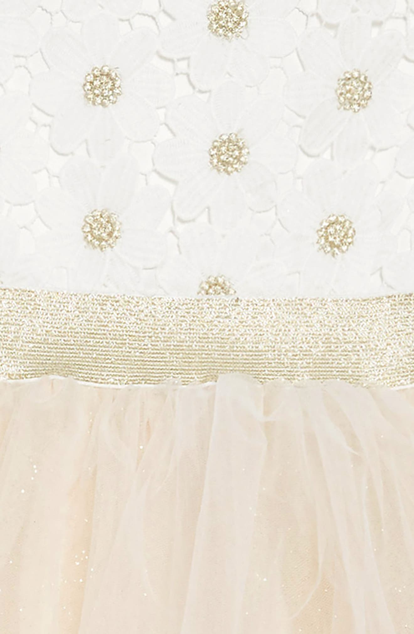Daisy Fit & Flare Dress,                             Alternate thumbnail 3, color,                             IVORY/ CHAMPAGNE