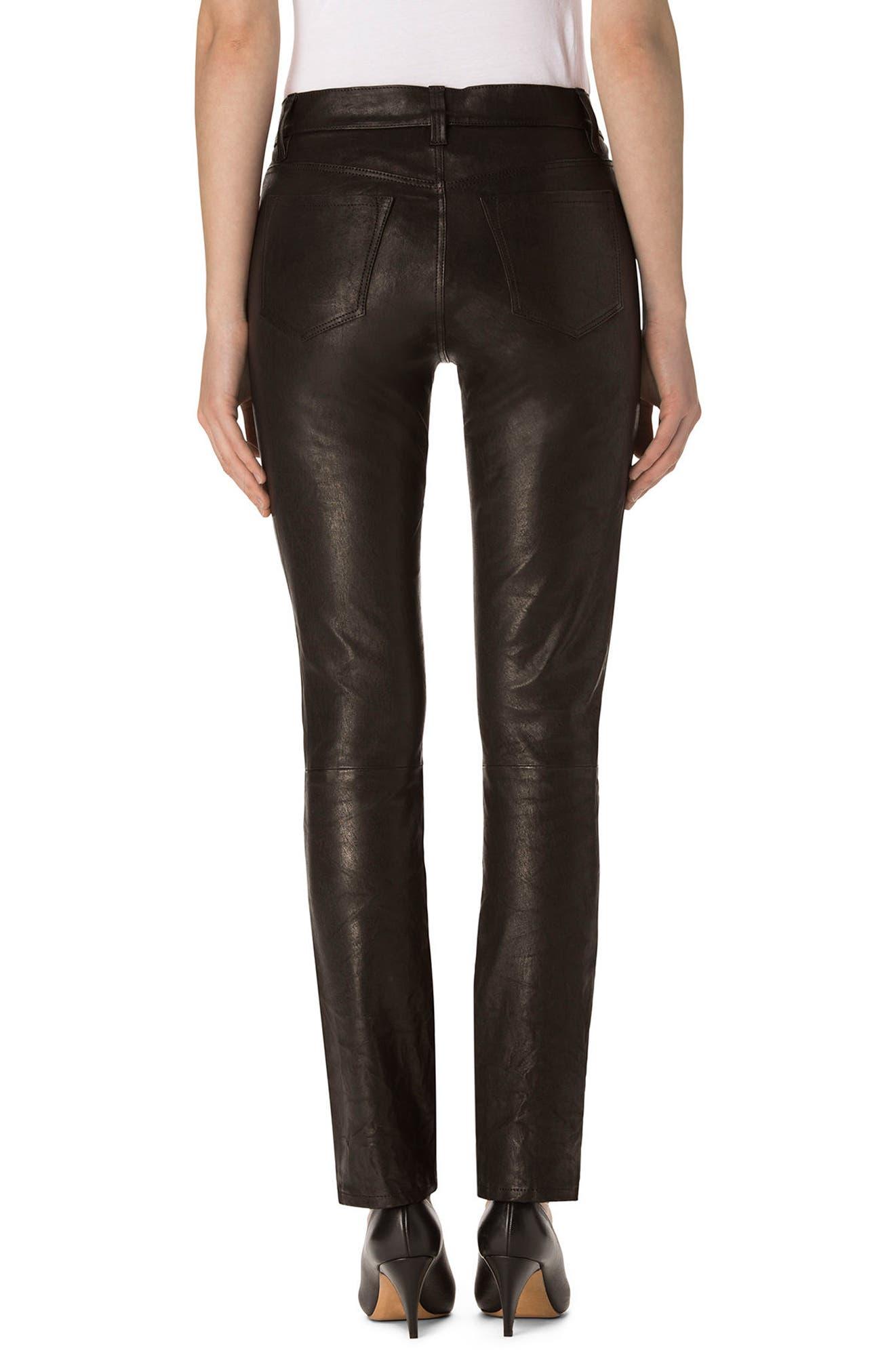 Maude Leather Cigarette Pants,                             Alternate thumbnail 2, color,                             001