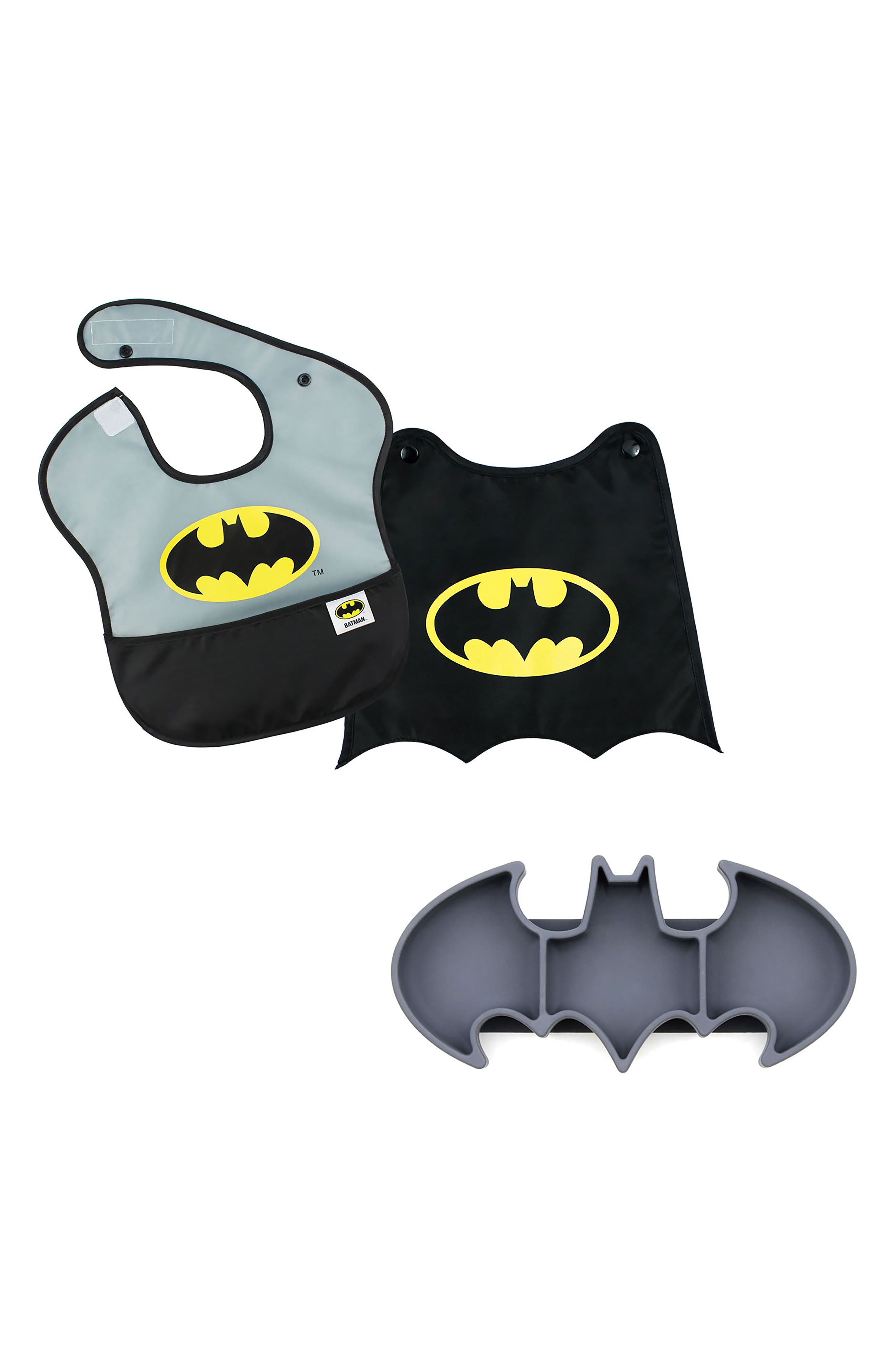 Batman Grip Dish & Caped SuperBib Set,                             Main thumbnail 1, color,                             001