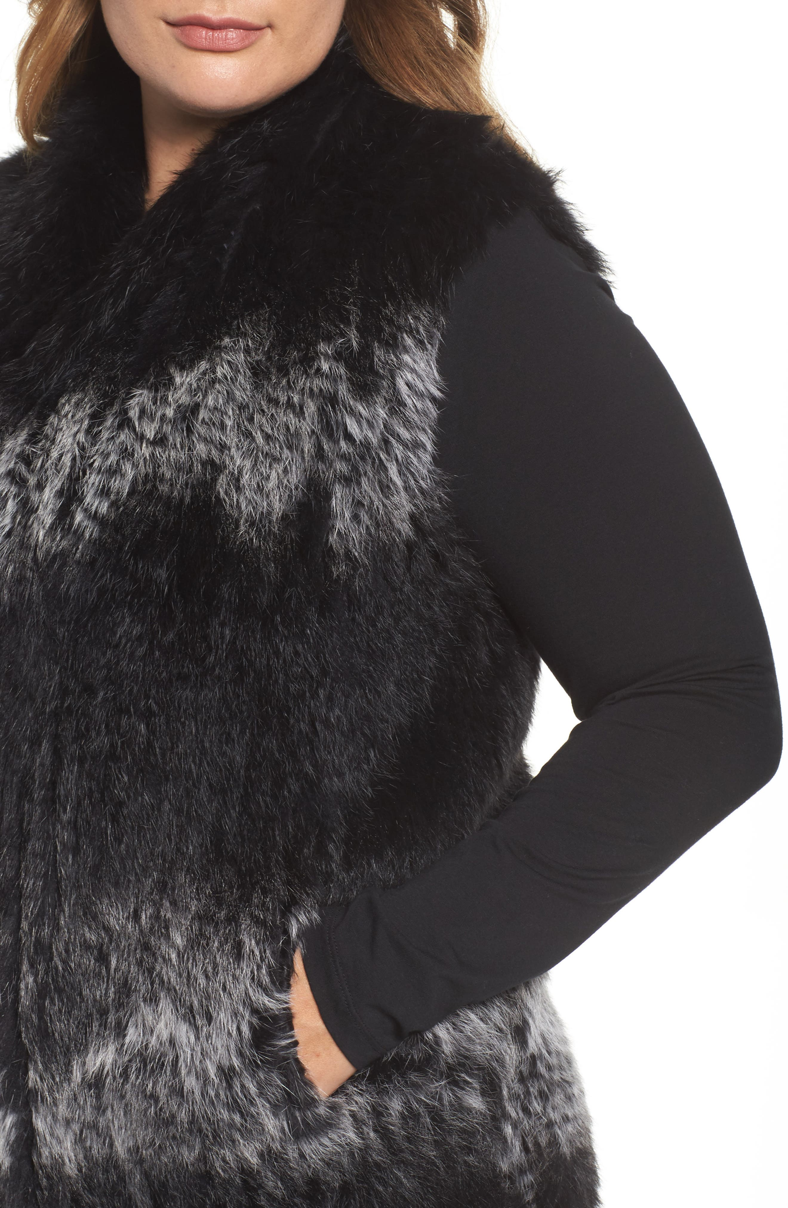 Genuine Rabbit Fur Vest,                             Alternate thumbnail 5, color,