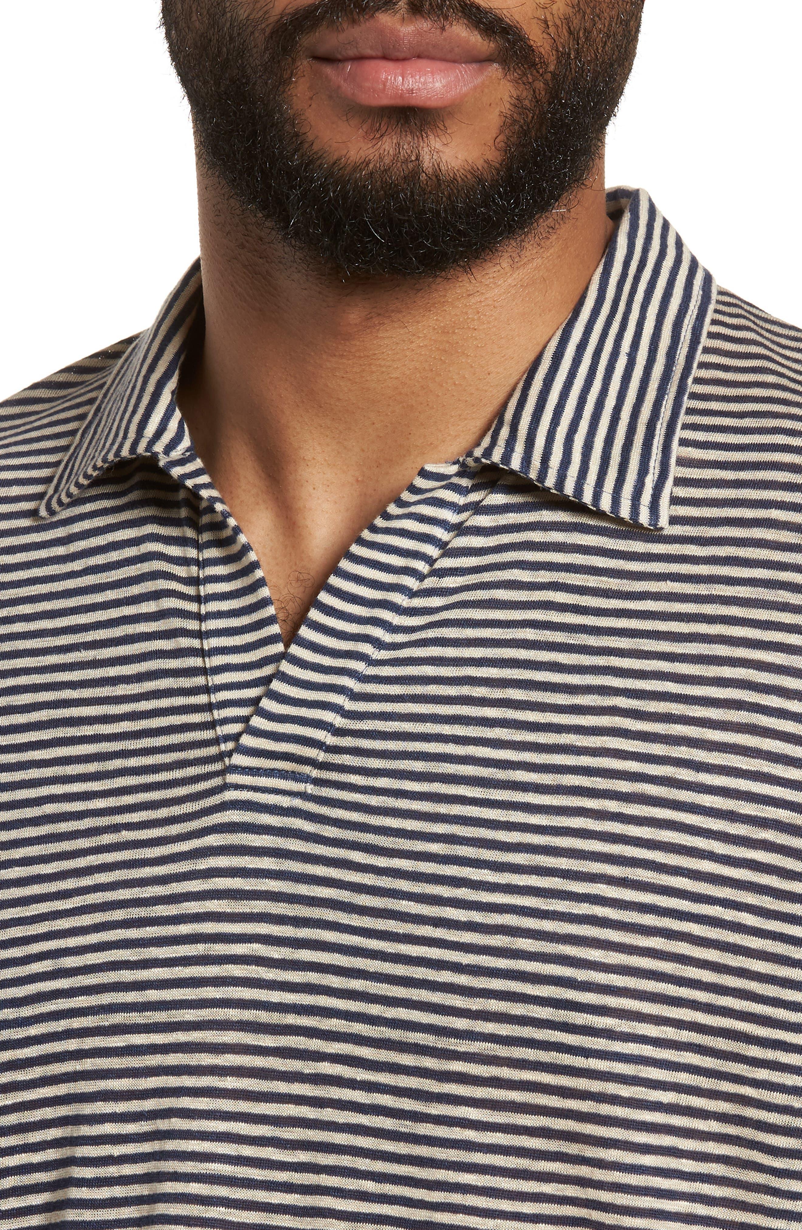 Johnny Stripe Linen Polo Shirt,                             Alternate thumbnail 4, color,                             410
