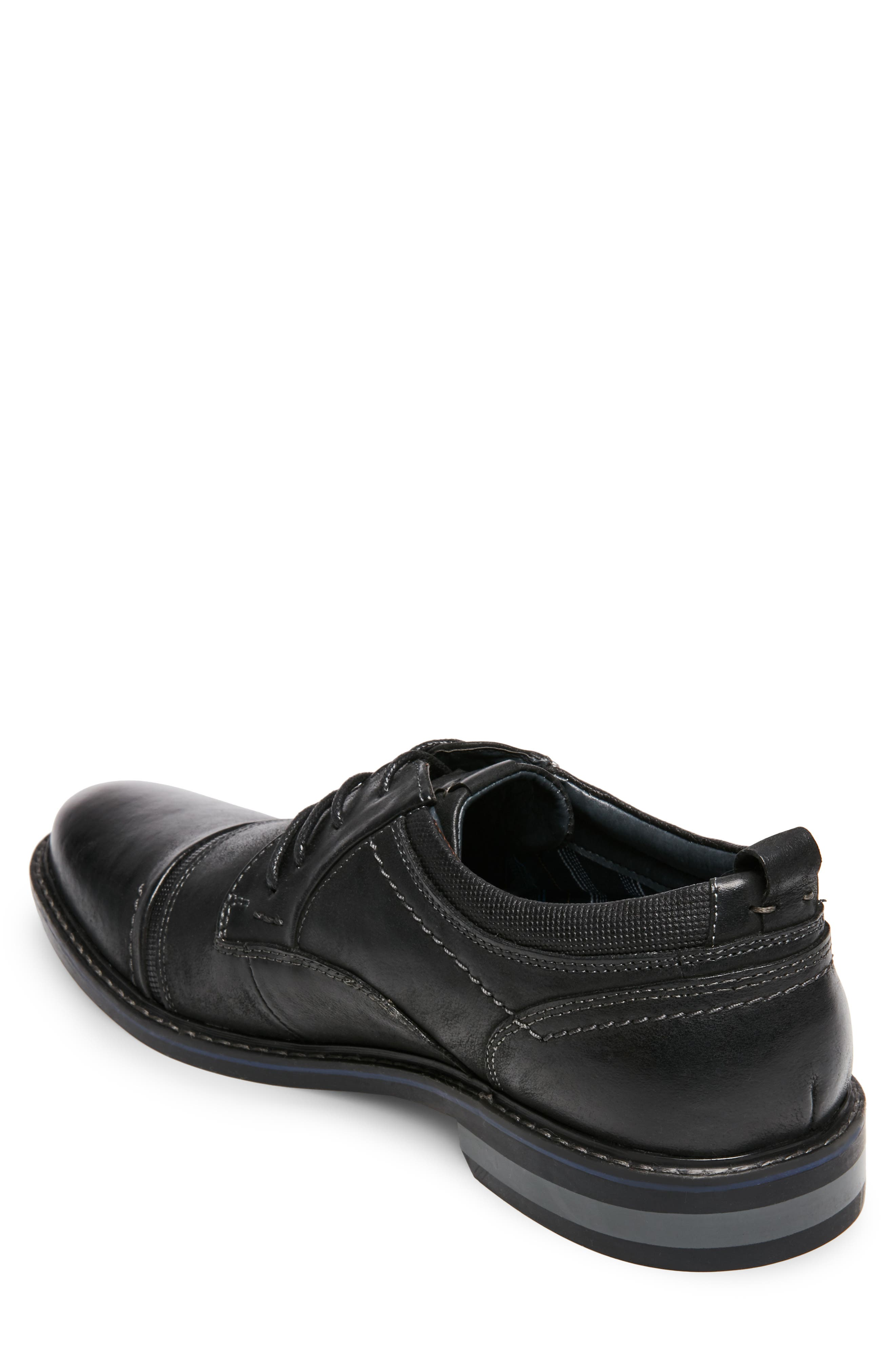 O'Leary Cap Toe Derby,                             Alternate thumbnail 2, color,                             BLACK LEATHER