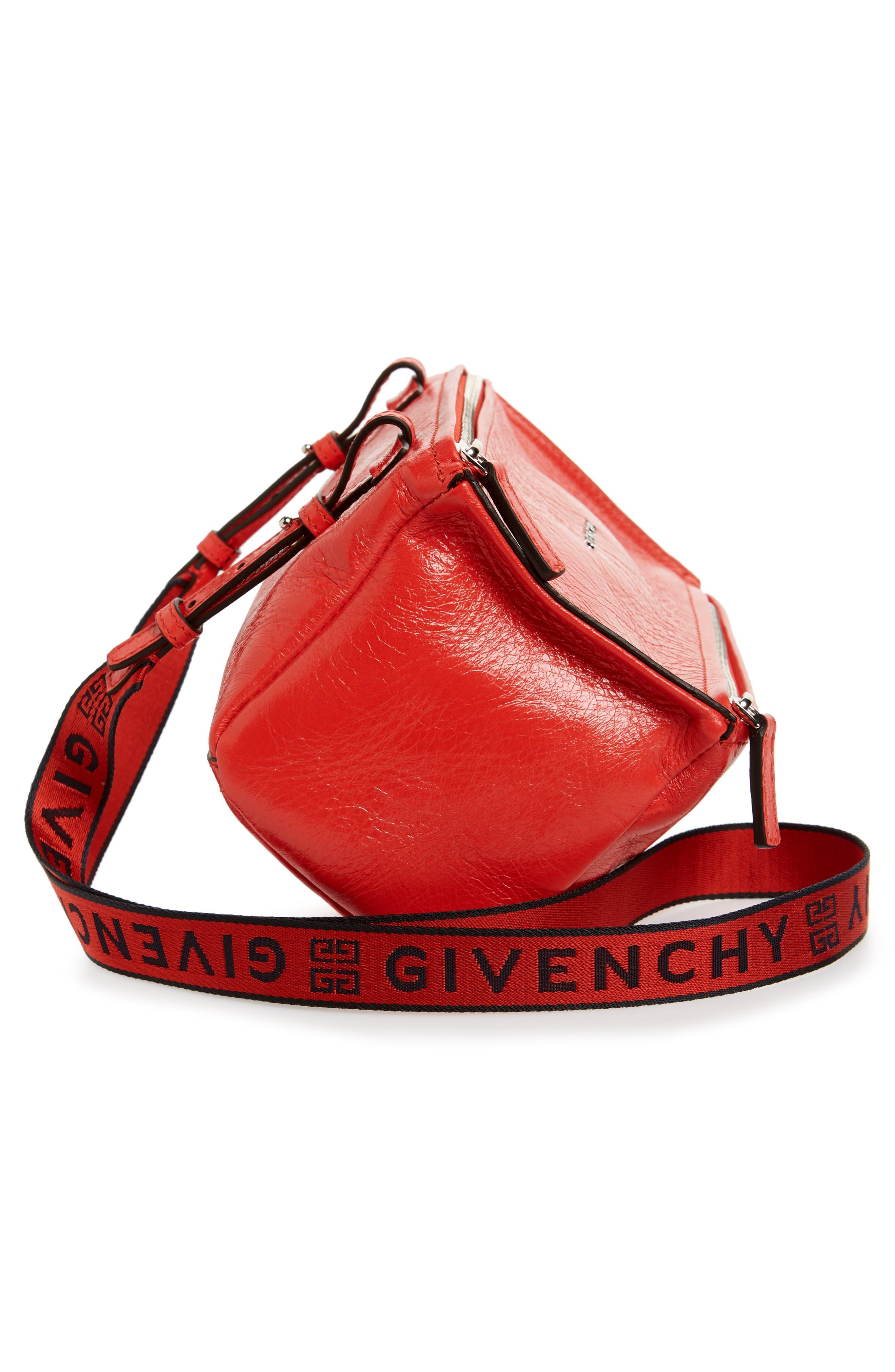 Mini Pandora Glazed Leather Shoulder Bag,                             Alternate thumbnail 5, color,                             POP RED