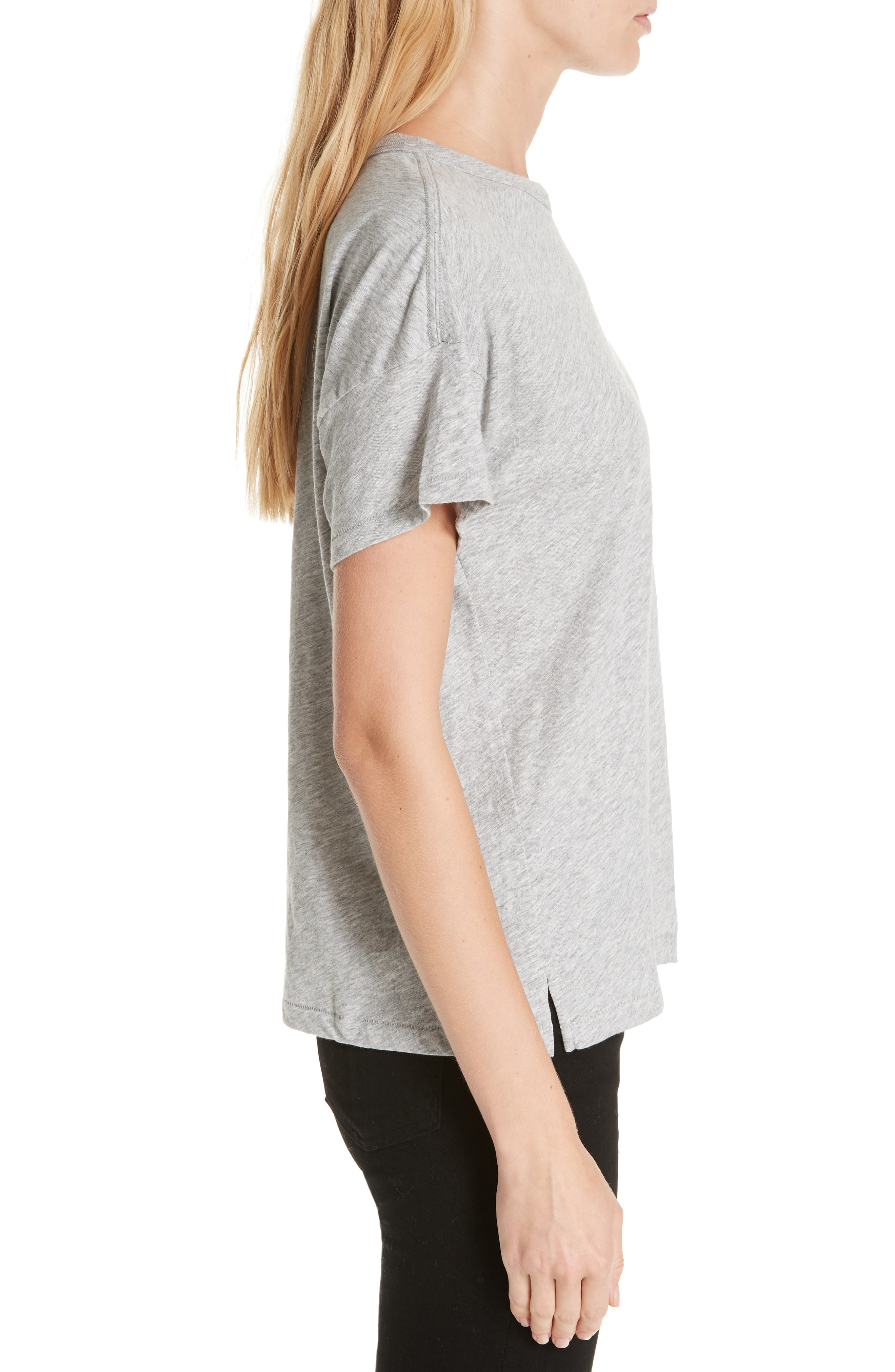 Bye Embroidered Tee,                             Alternate thumbnail 3, color,                             HEATHER GREY
