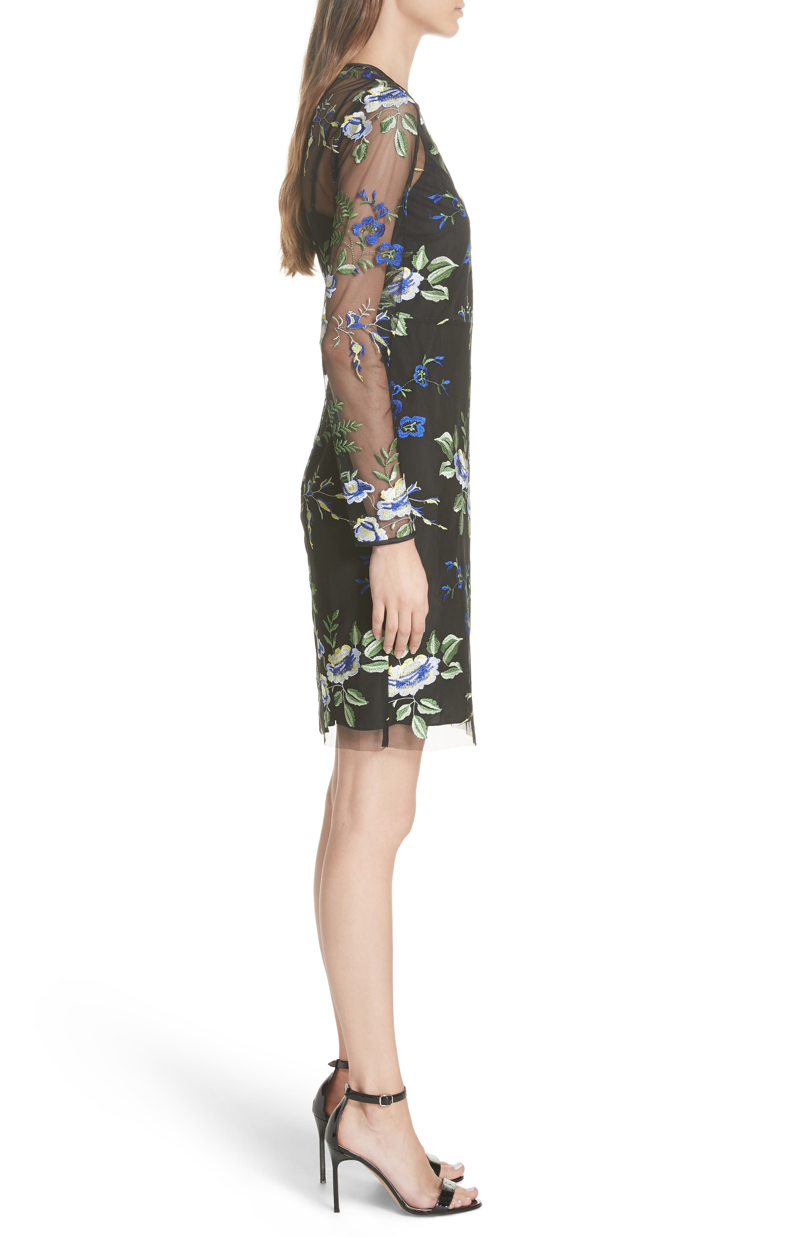 Embroidered Overlay Dress,                             Alternate thumbnail 3, color,                             002
