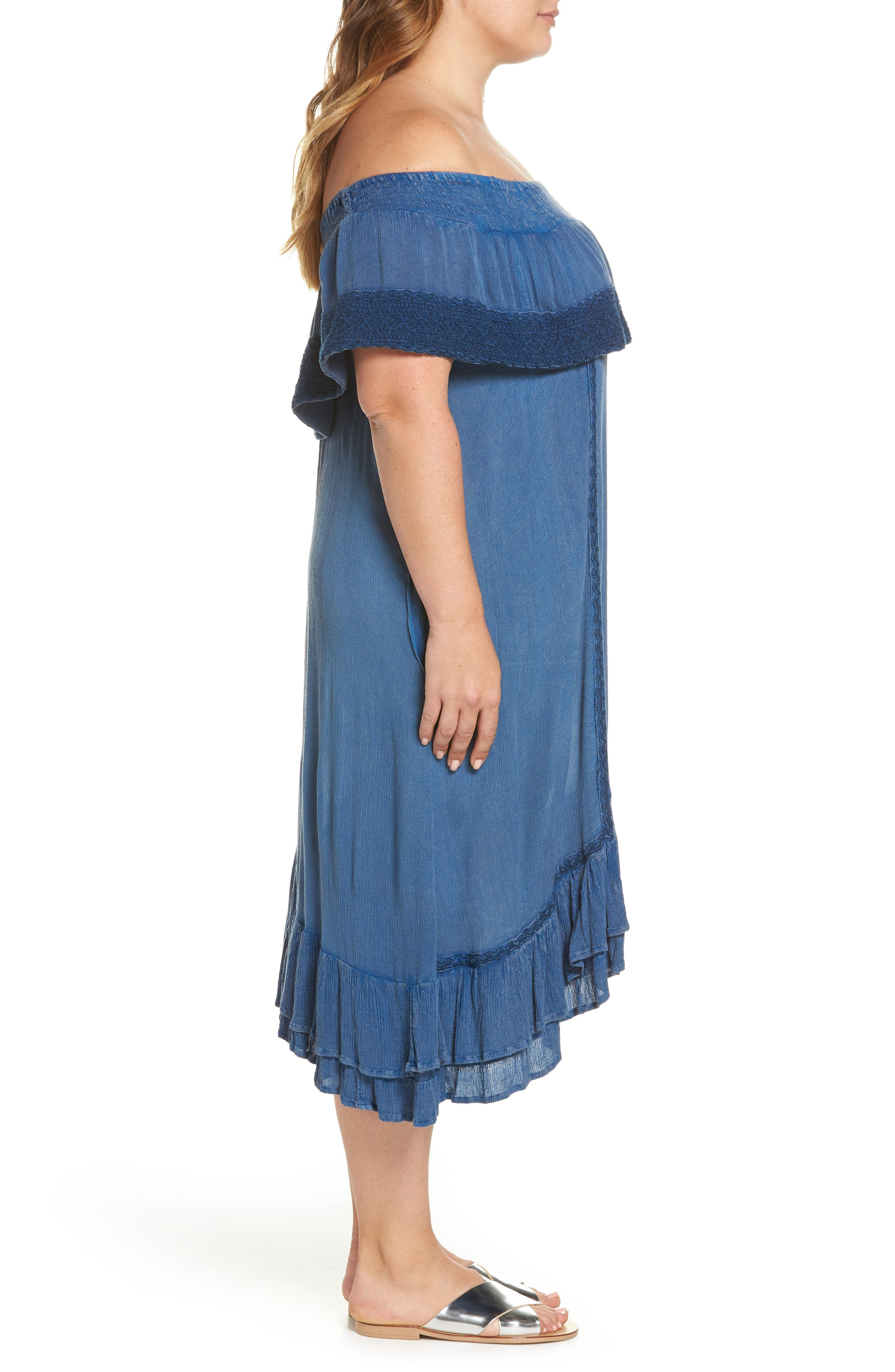 Gavin Ruffle Cover-Up Dress,                             Alternate thumbnail 3, color,                             462