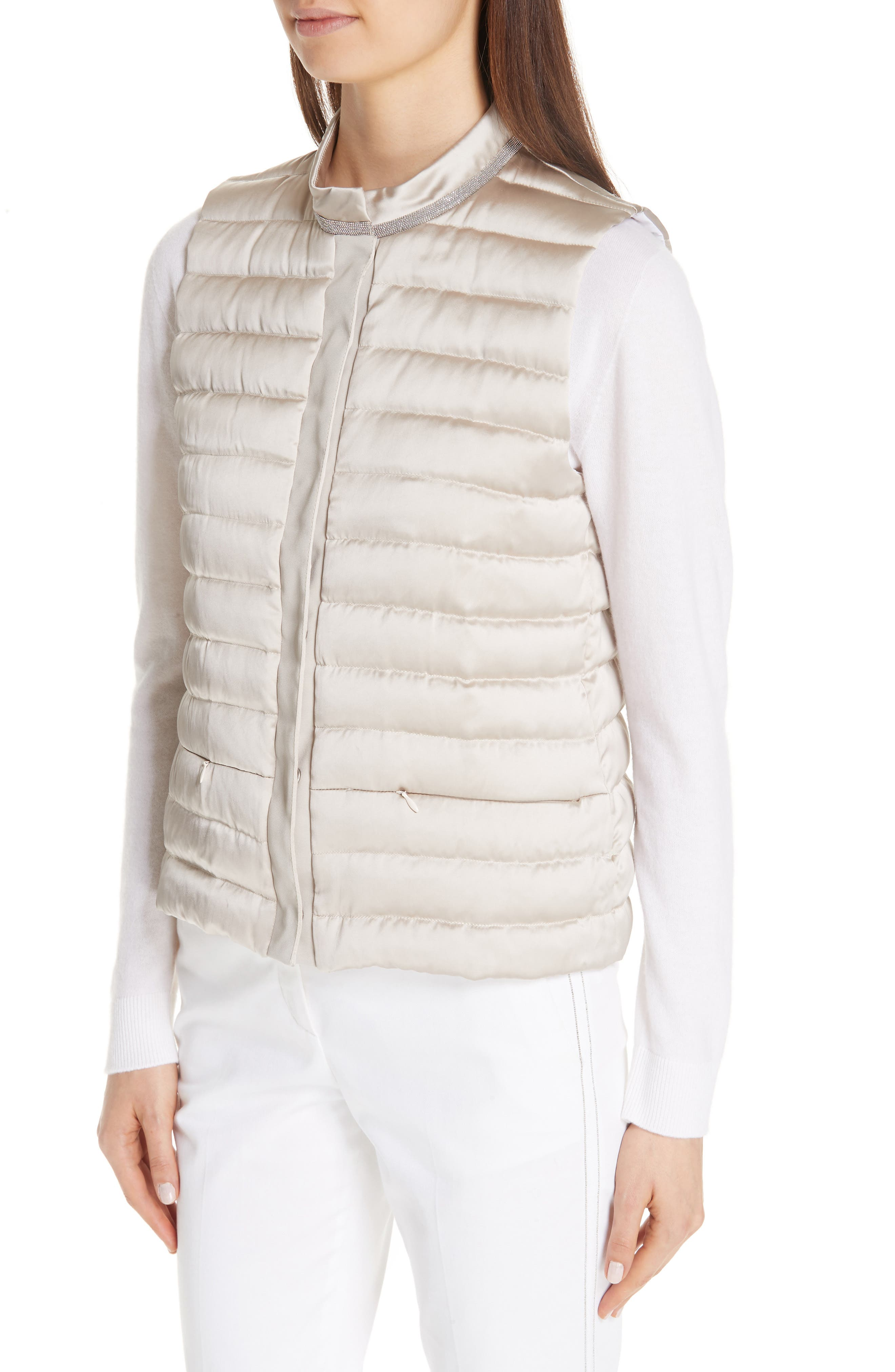 Quilted Satin Vest Front,                             Alternate thumbnail 4, color,                             CHAMPAGNE