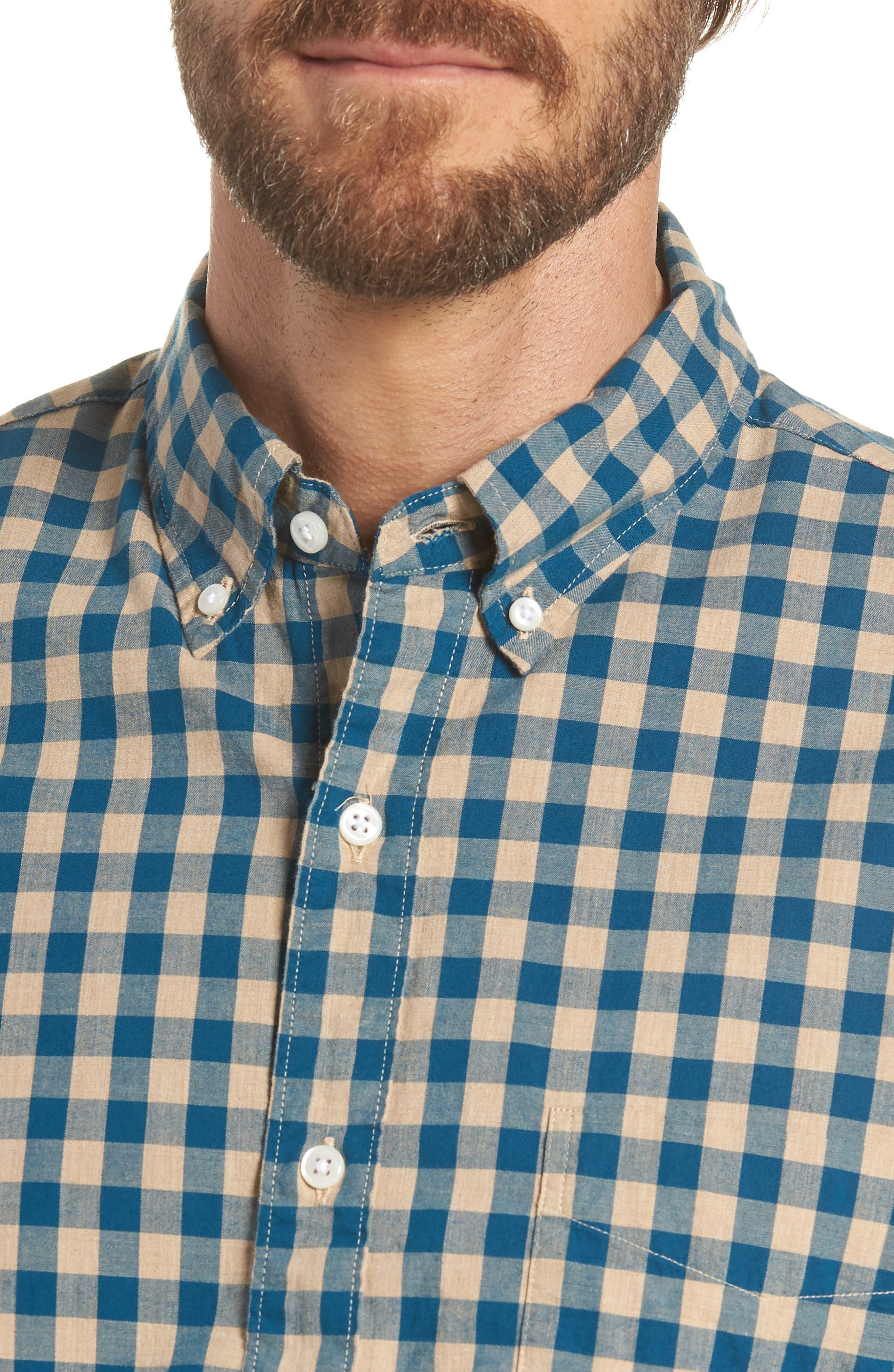 Slim Fit Stretch Secret Wash Heather Gingham Poplin Shirt,                             Alternate thumbnail 4, color,