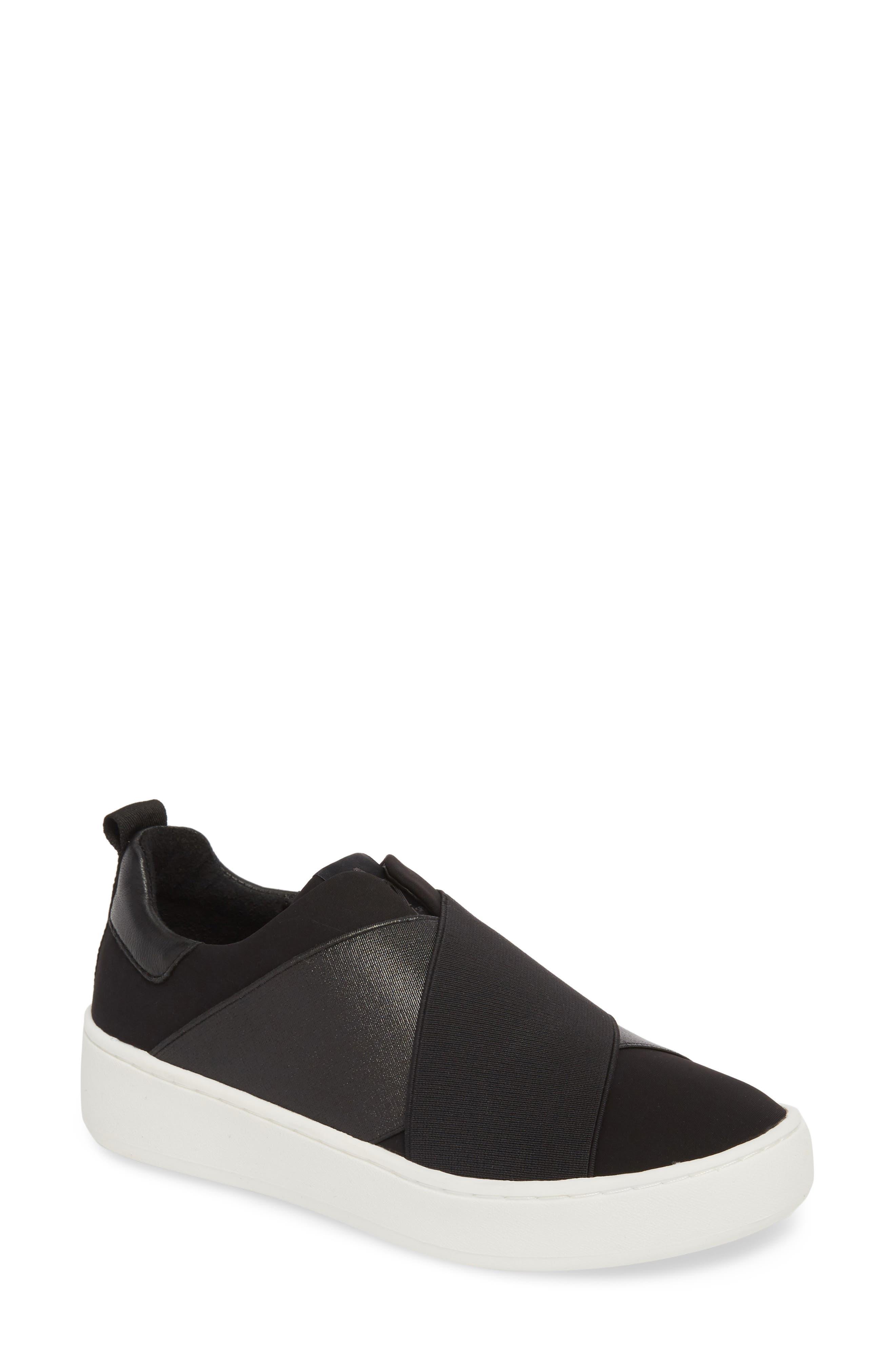 Coley Platform Slip-On Sneaker,                             Main thumbnail 1, color,                             BLACK LEATHER