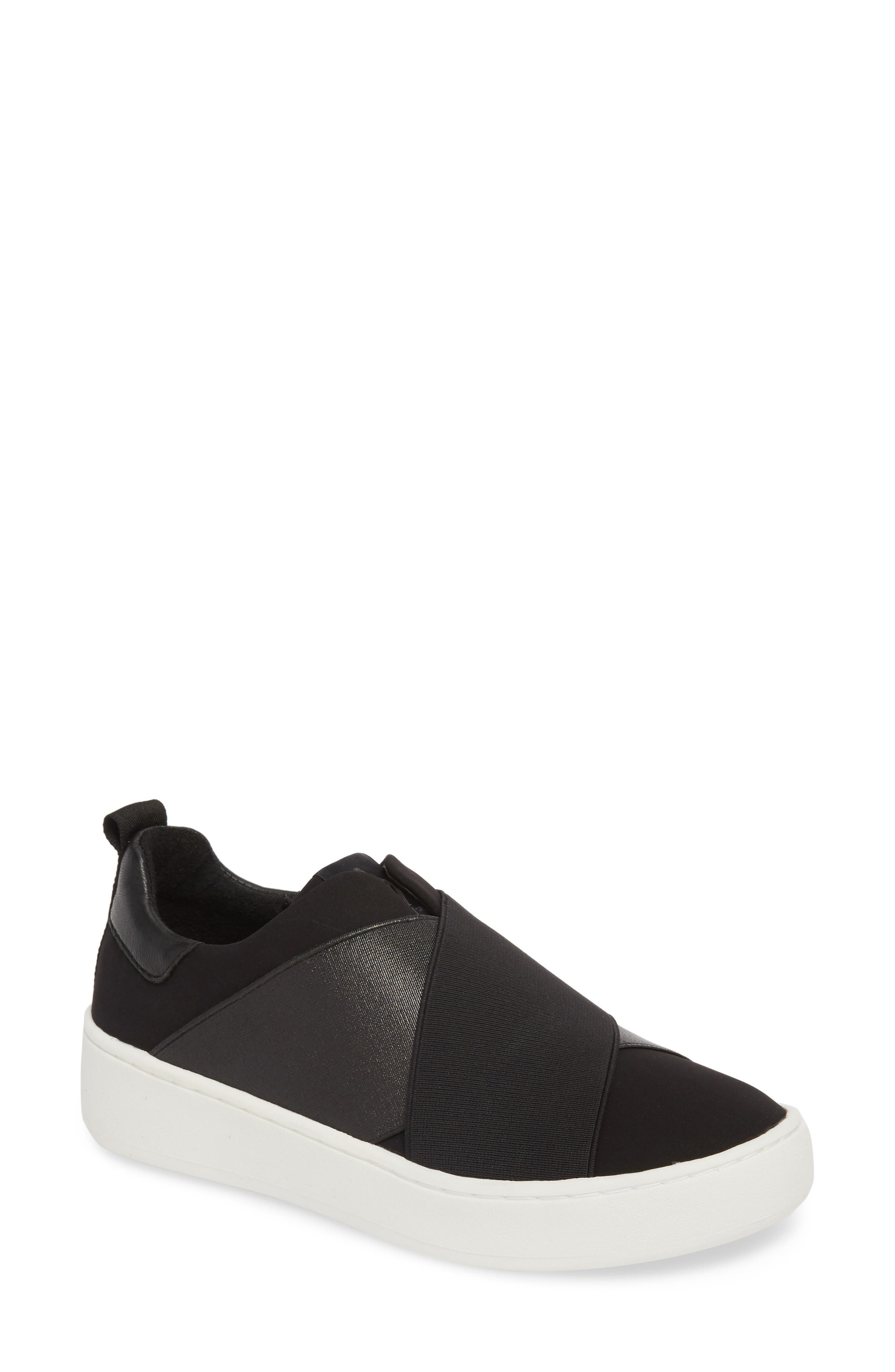 Coley Platform Slip-On Sneaker,                         Main,                         color, BLACK LEATHER
