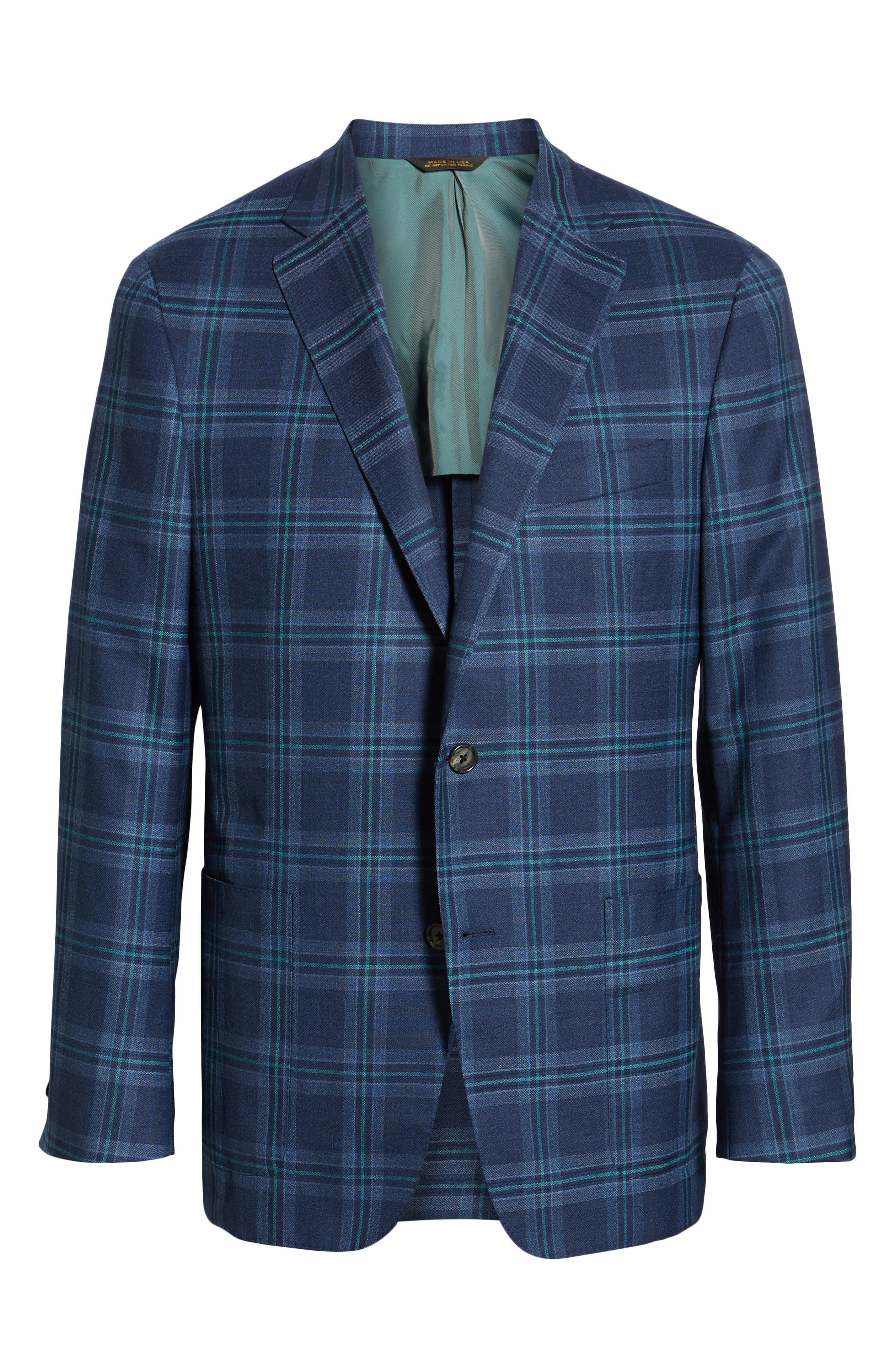 Classic B Fit Plaid Wool Sport Coat,                             Alternate thumbnail 5, color,                             BLUE
