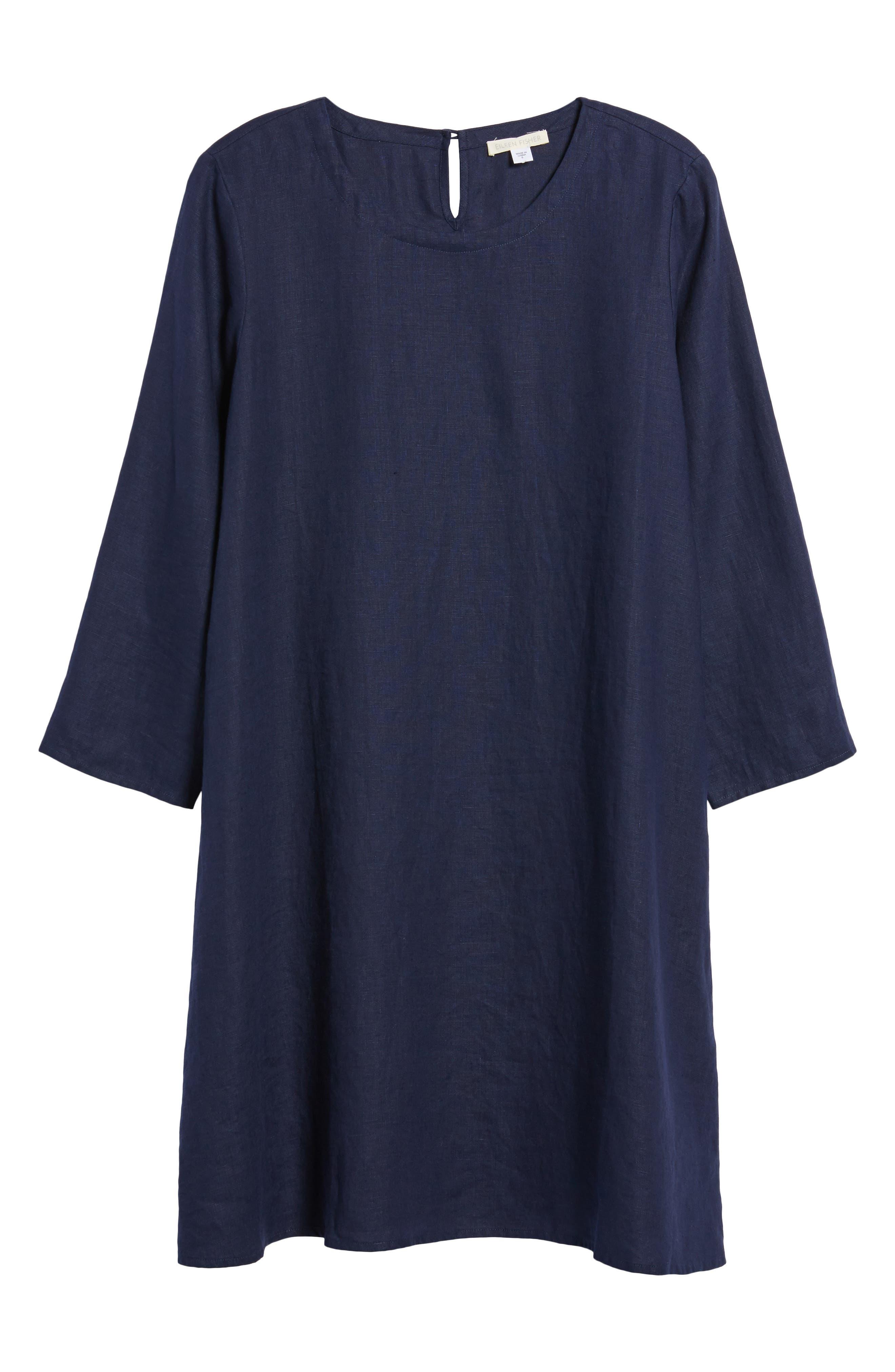 Organic Linen Round Neck Shift Dress,                             Alternate thumbnail 6, color,                             419