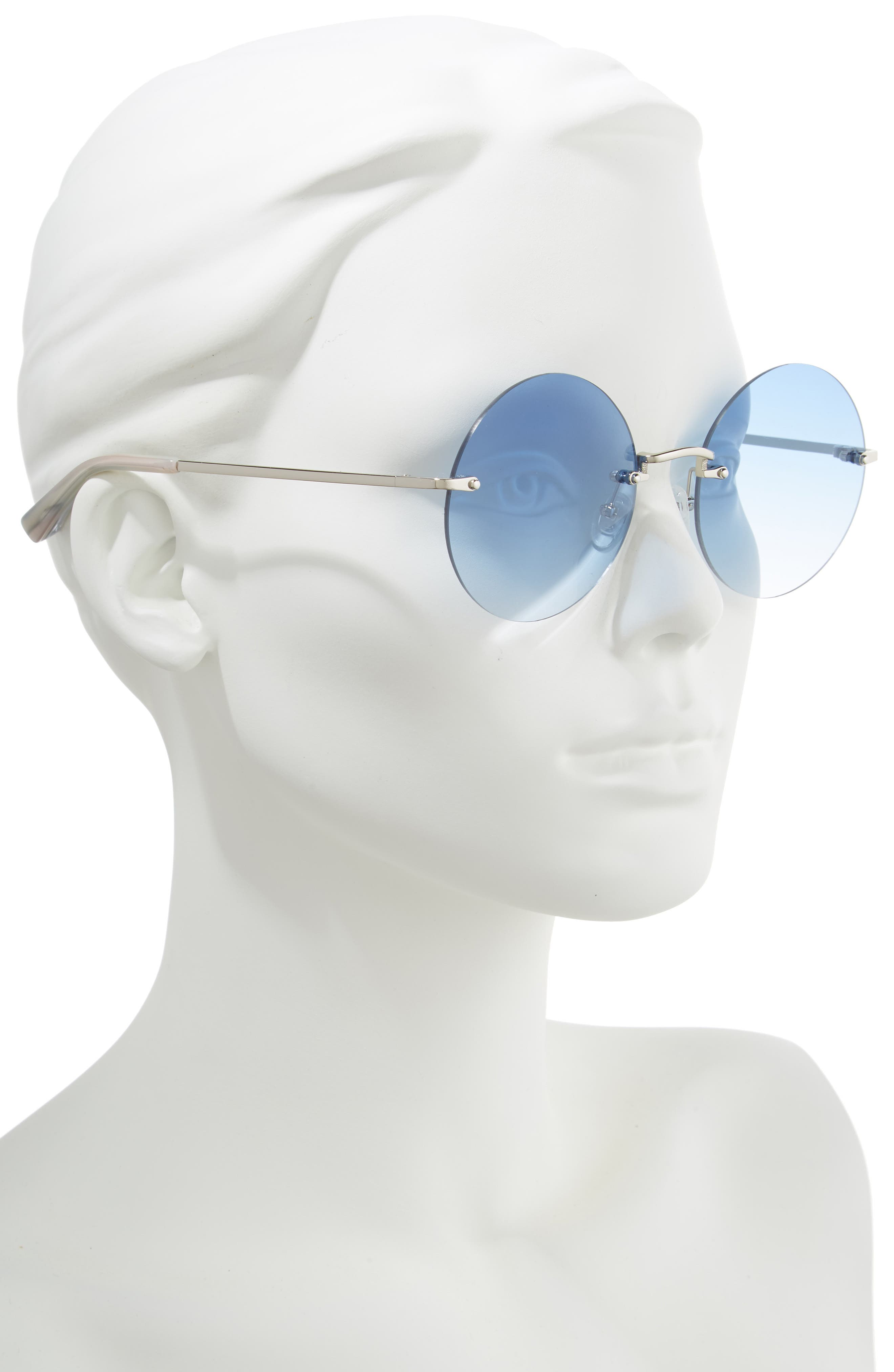 Kelly 57mm Rimless Round Sunglasses,                             Alternate thumbnail 2, color,                             SILVER/ BLUE