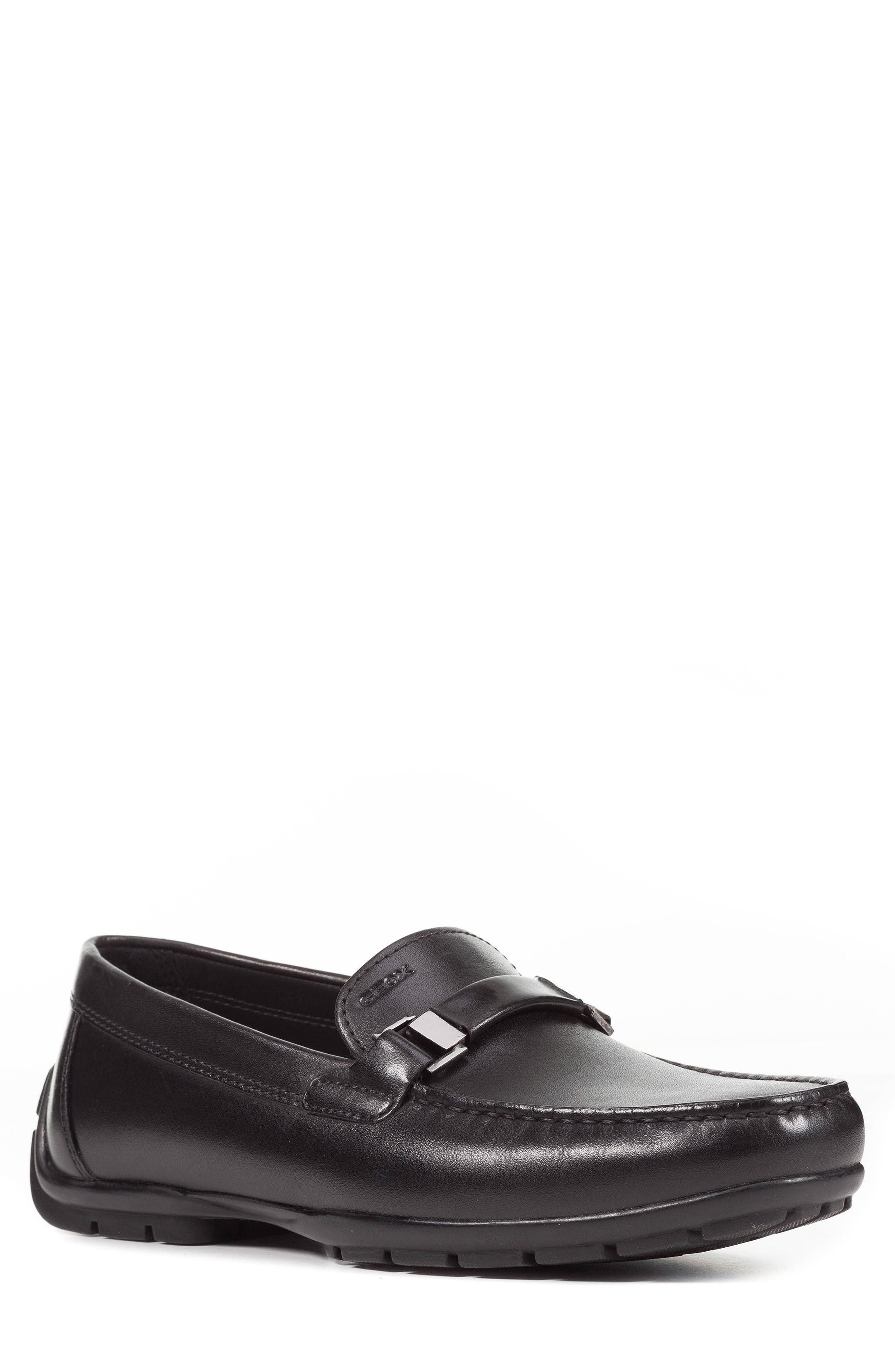 GEOX Moner 2Fit 1 Driving Moccasin, Main, color, BLACK LEATHER