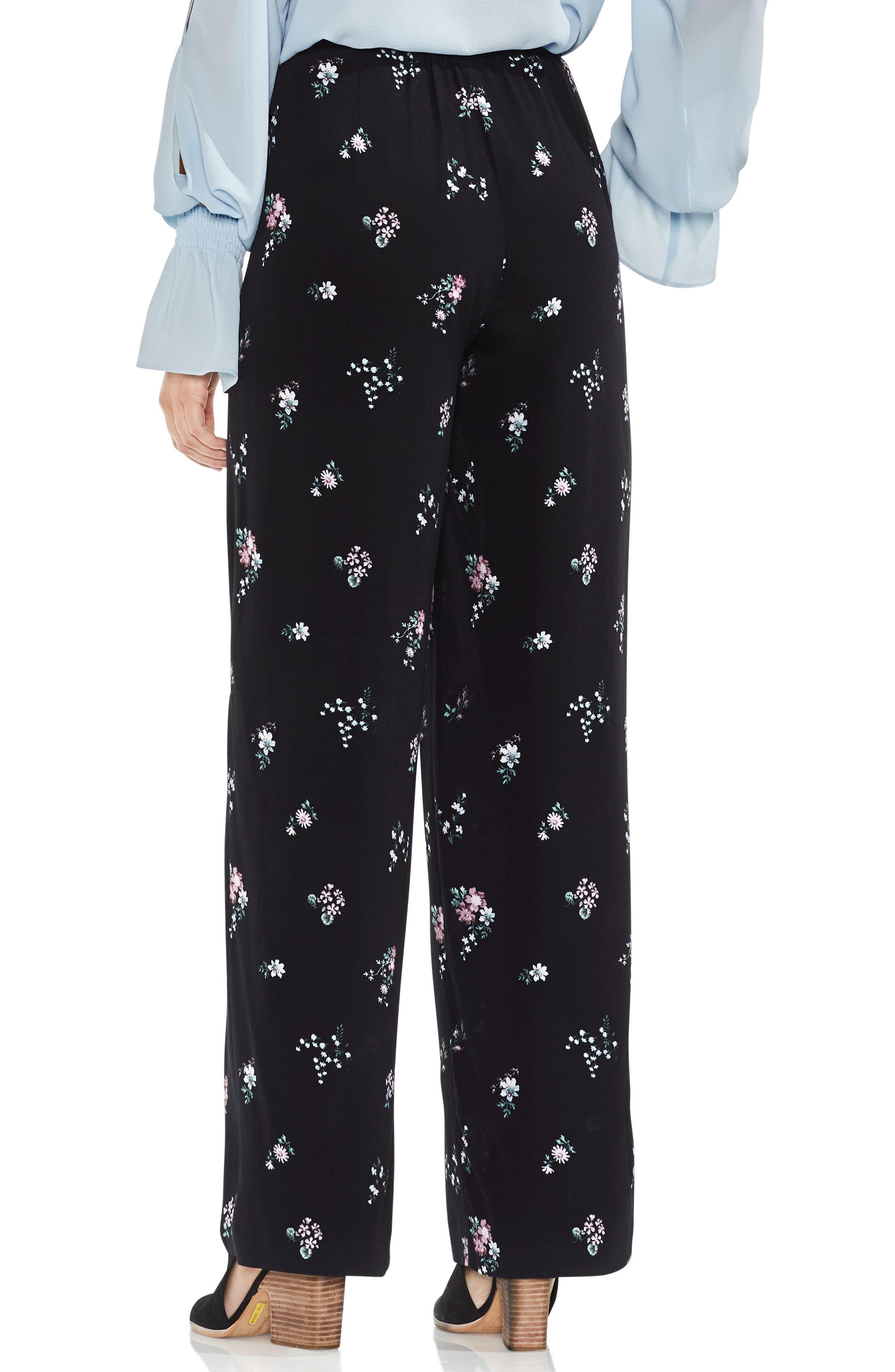 Delicate Floral Wide Leg Pants,                             Alternate thumbnail 2, color,                             006