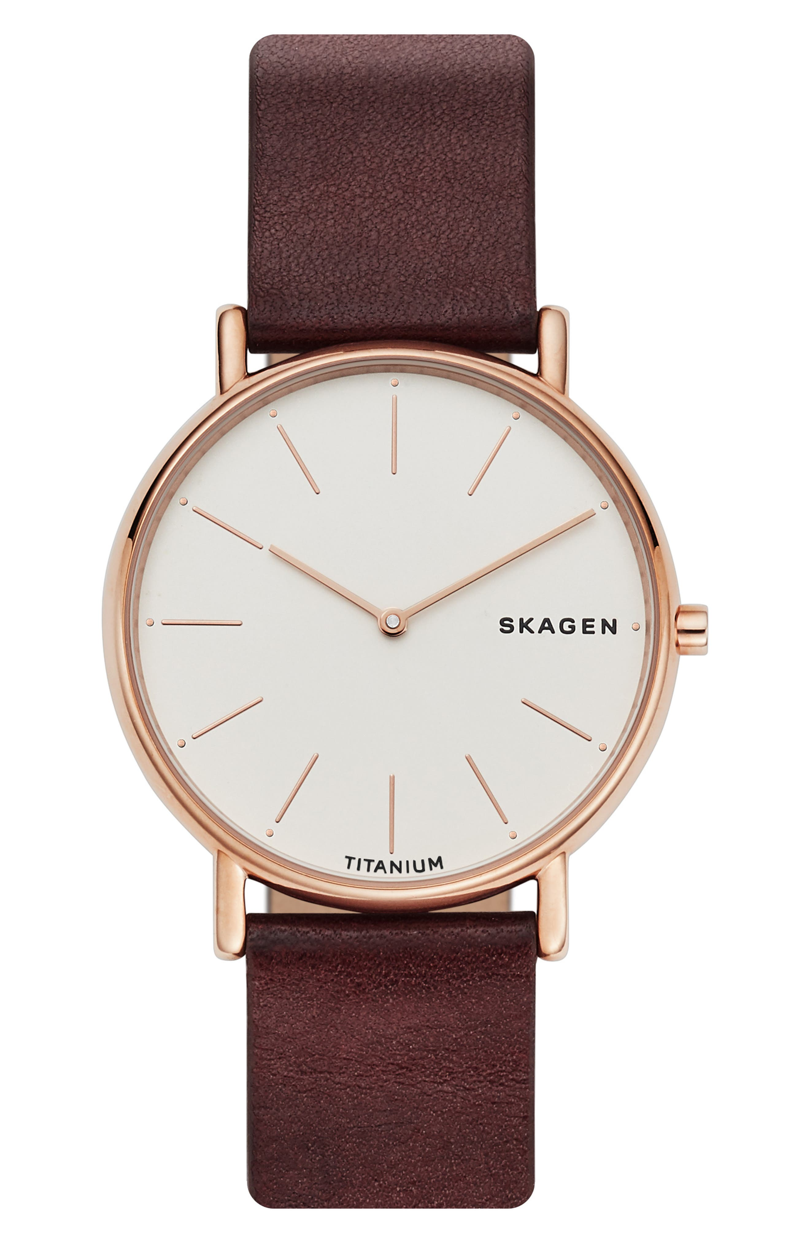 Signatur Leather Strap Watch, 40mm,                             Alternate thumbnail 4, color,                             RED/ WHITE/ ROSE GOLD