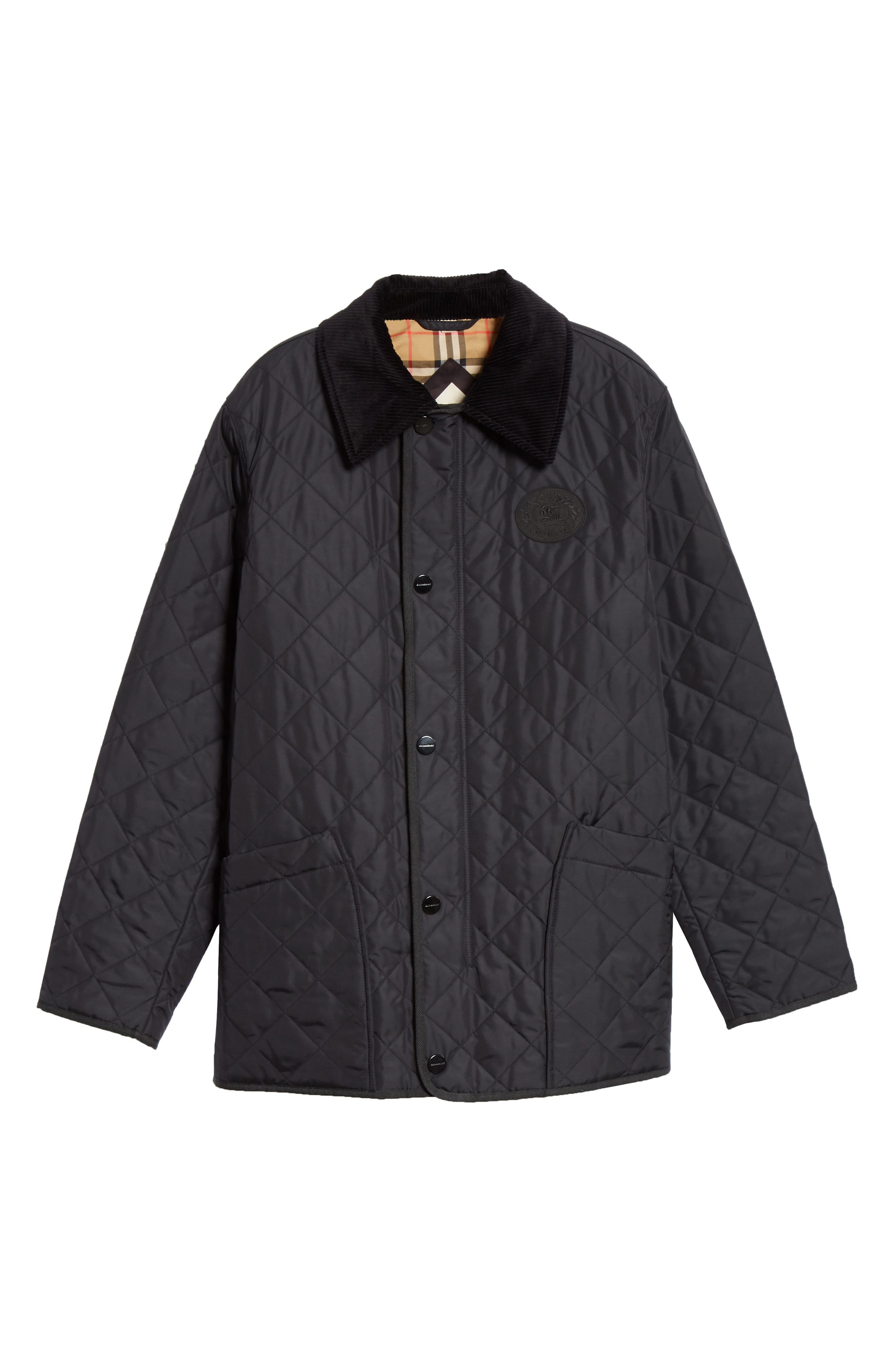 BURBERRY,                             Cotswold Quilted Jacket,                             Alternate thumbnail 5, color,                             BLACK