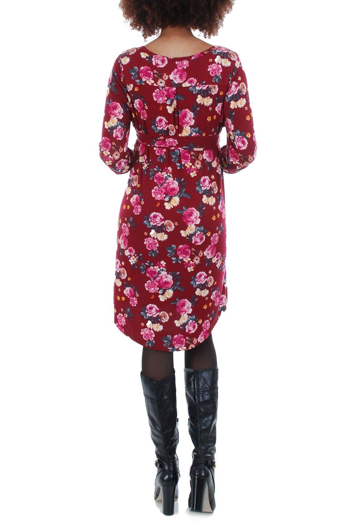 Lonni Maternity/Nursing Shirtdress,                             Alternate thumbnail 5, color,                             BURGUNDY FLORAL