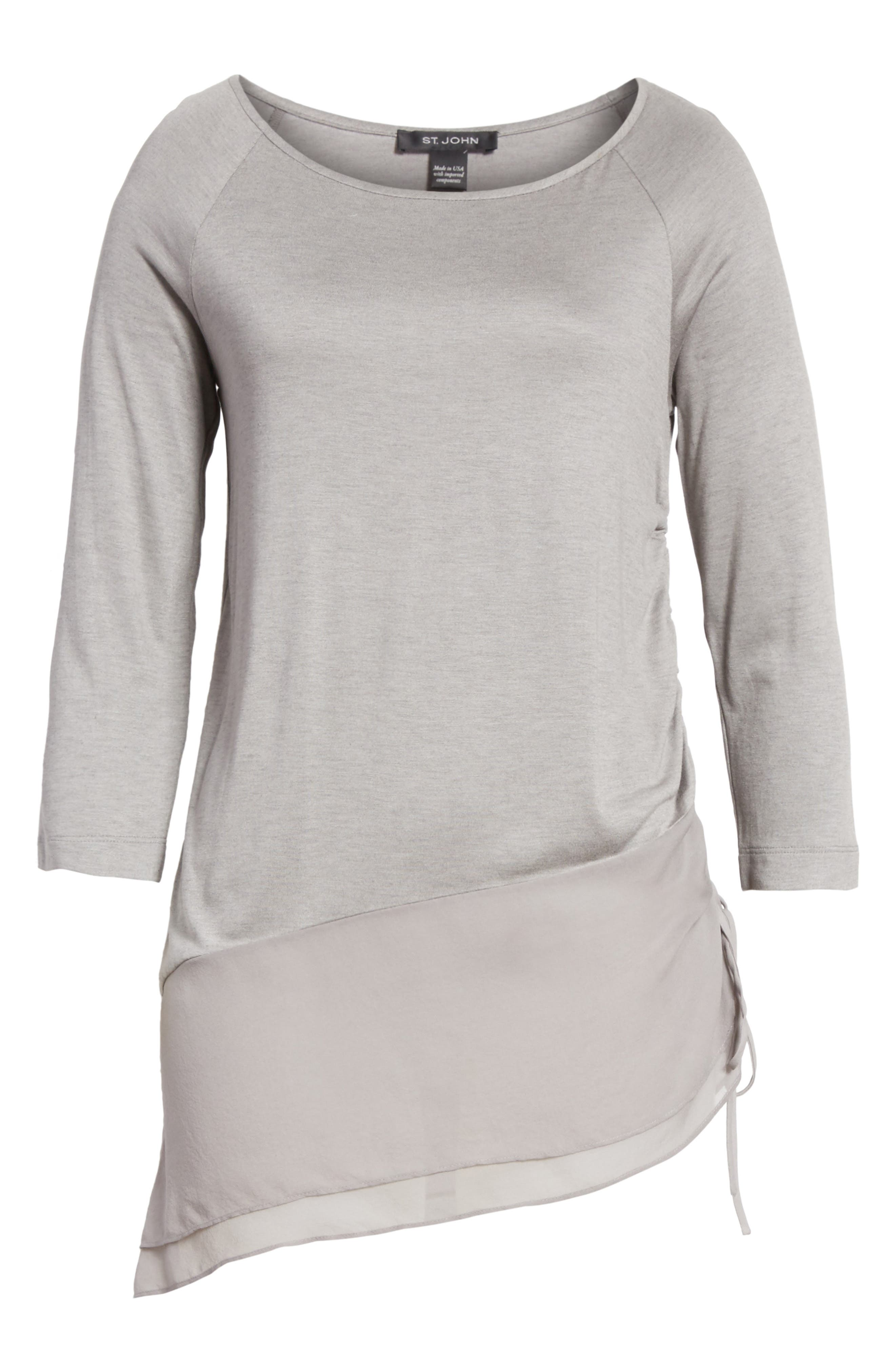 Silk Georgette & Jersey Asymmetrical Blouse,                             Alternate thumbnail 6, color,                             100
