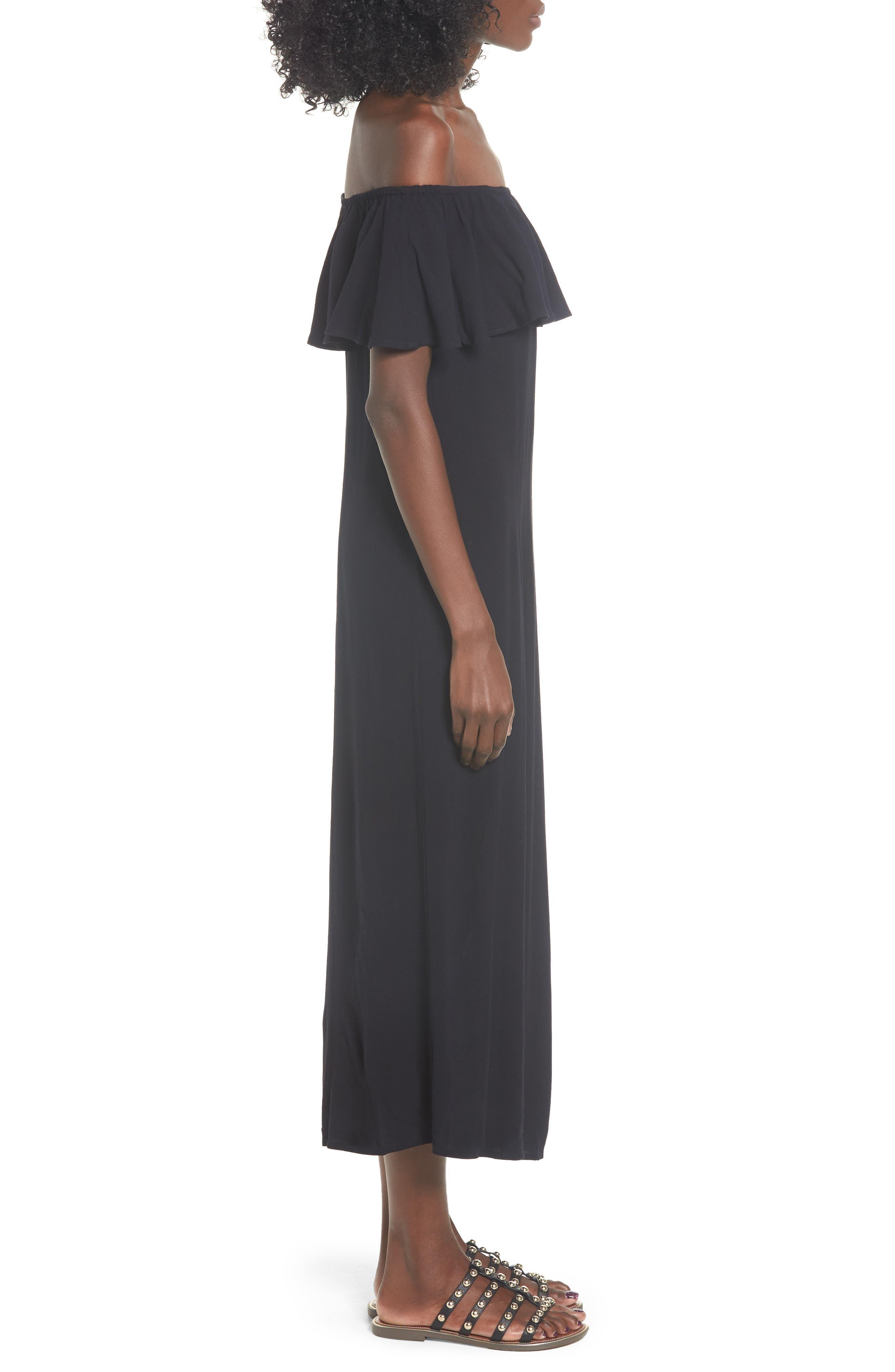 Vista Del Valle Off the Shoulder Ruffle Maxi Dress,                             Alternate thumbnail 3, color,                             001