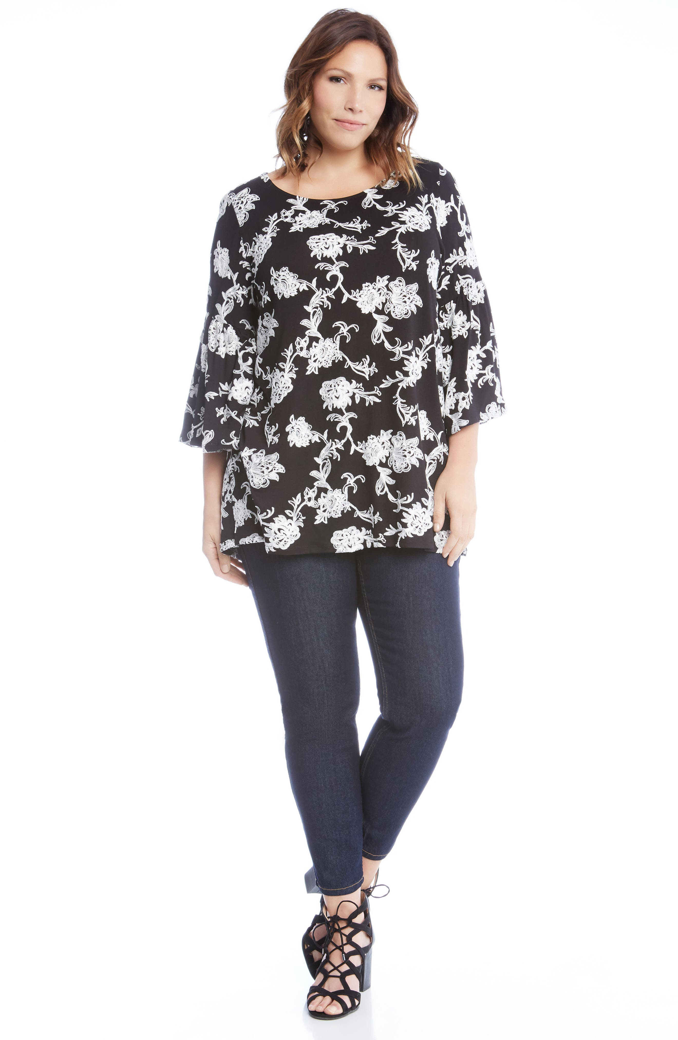 Embroidered Knit Top,                             Alternate thumbnail 3, color,                             001