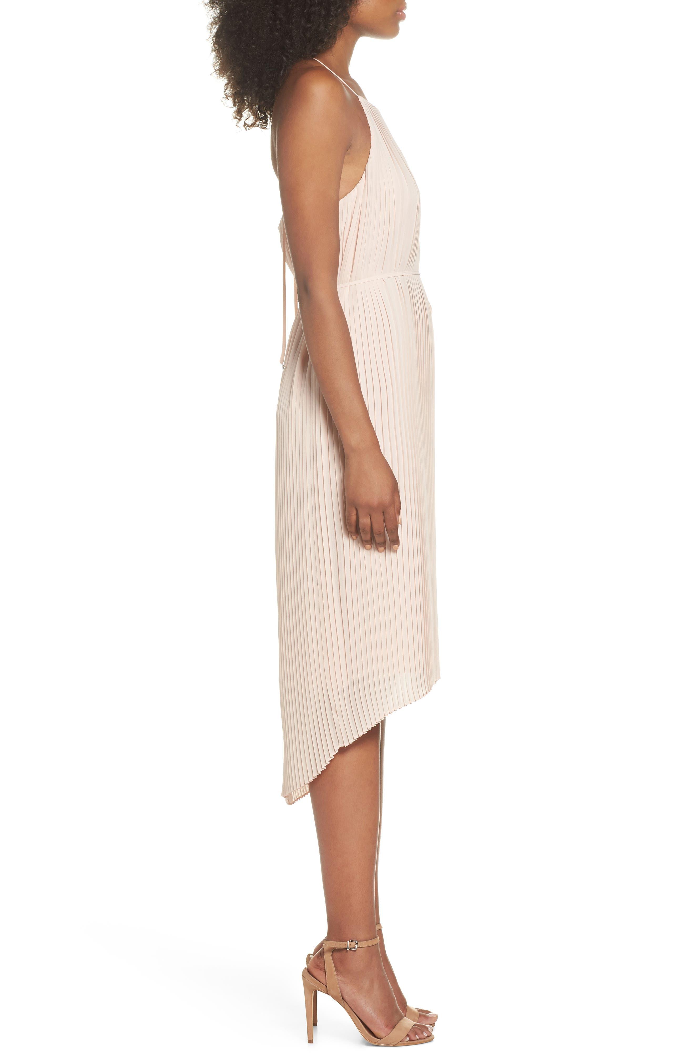 Pleated Midi Dress,                             Alternate thumbnail 3, color,                             BLUSH