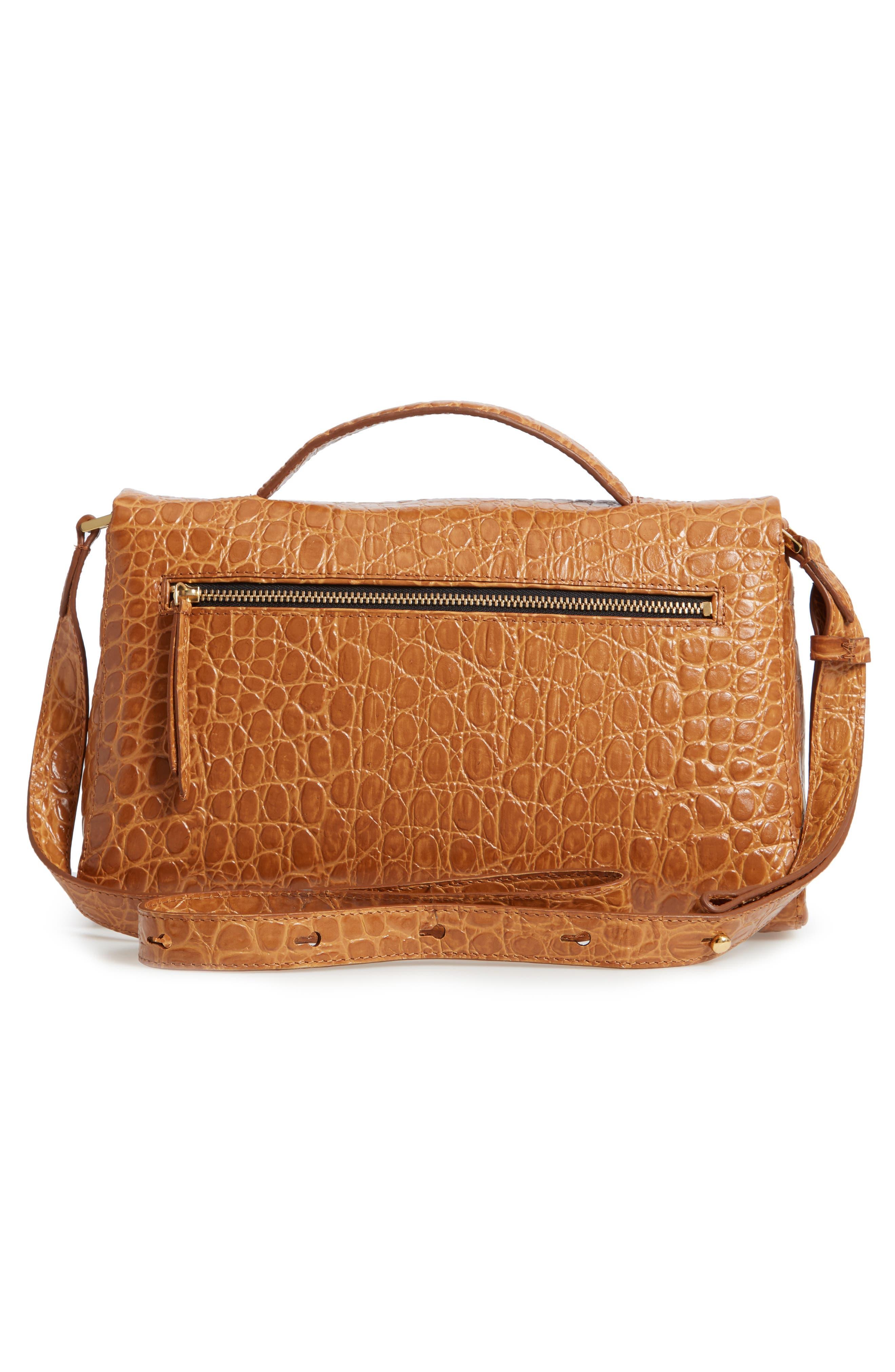 Croc Embossed Leather Shoulder Bag,                             Alternate thumbnail 3, color,                             GOLD