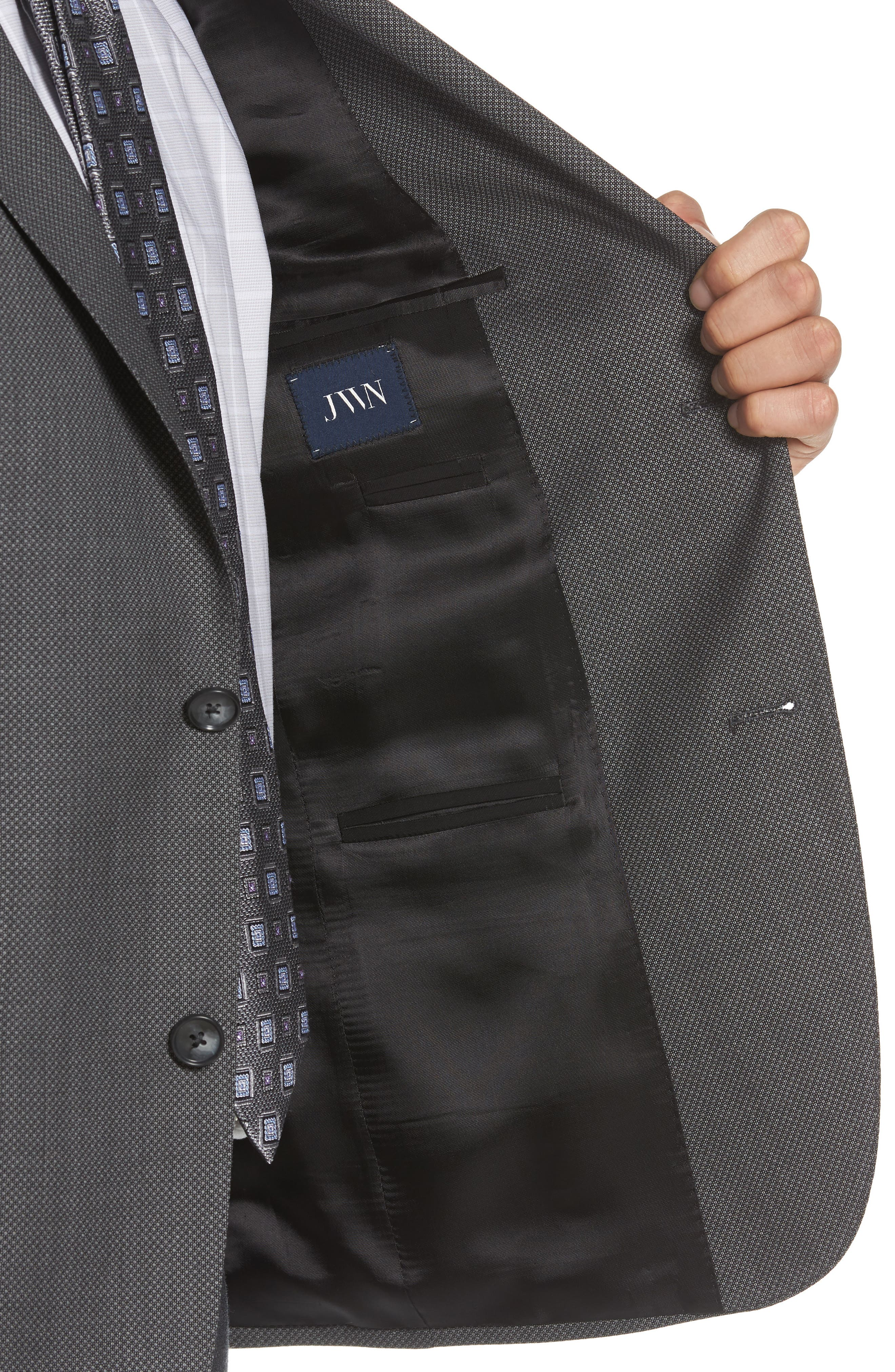 Traditional Fit Microprint Wool Sport Coat,                             Alternate thumbnail 4, color,                             001