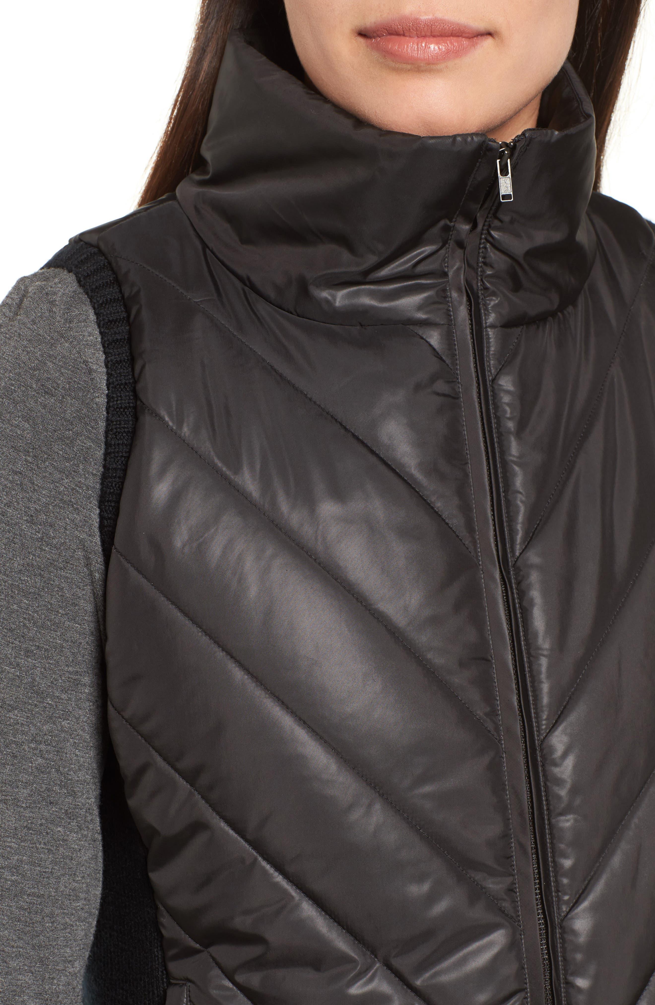 Merino Wool Trim Puffer Vest,                             Alternate thumbnail 4, color,                             001
